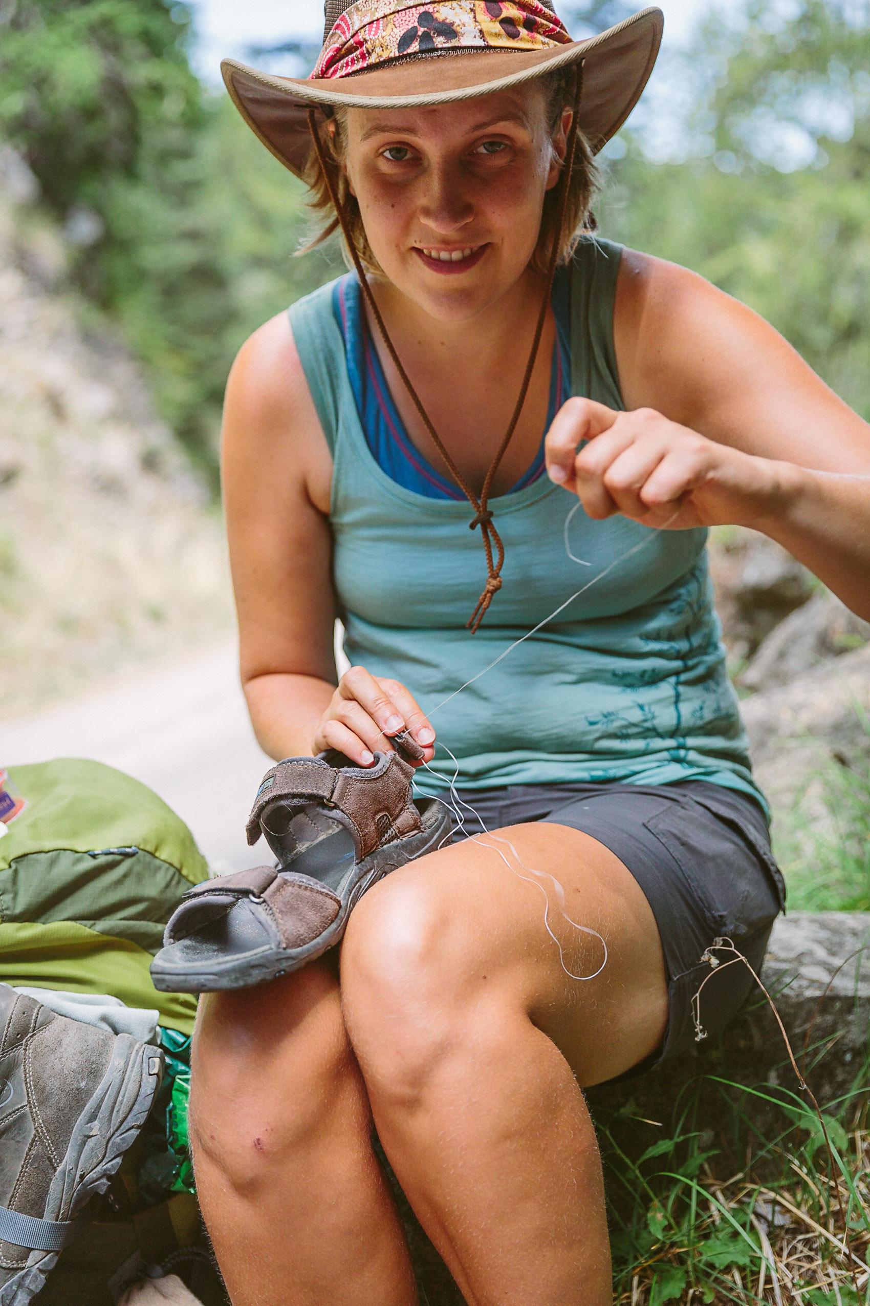 Shoe repairs with dental floss