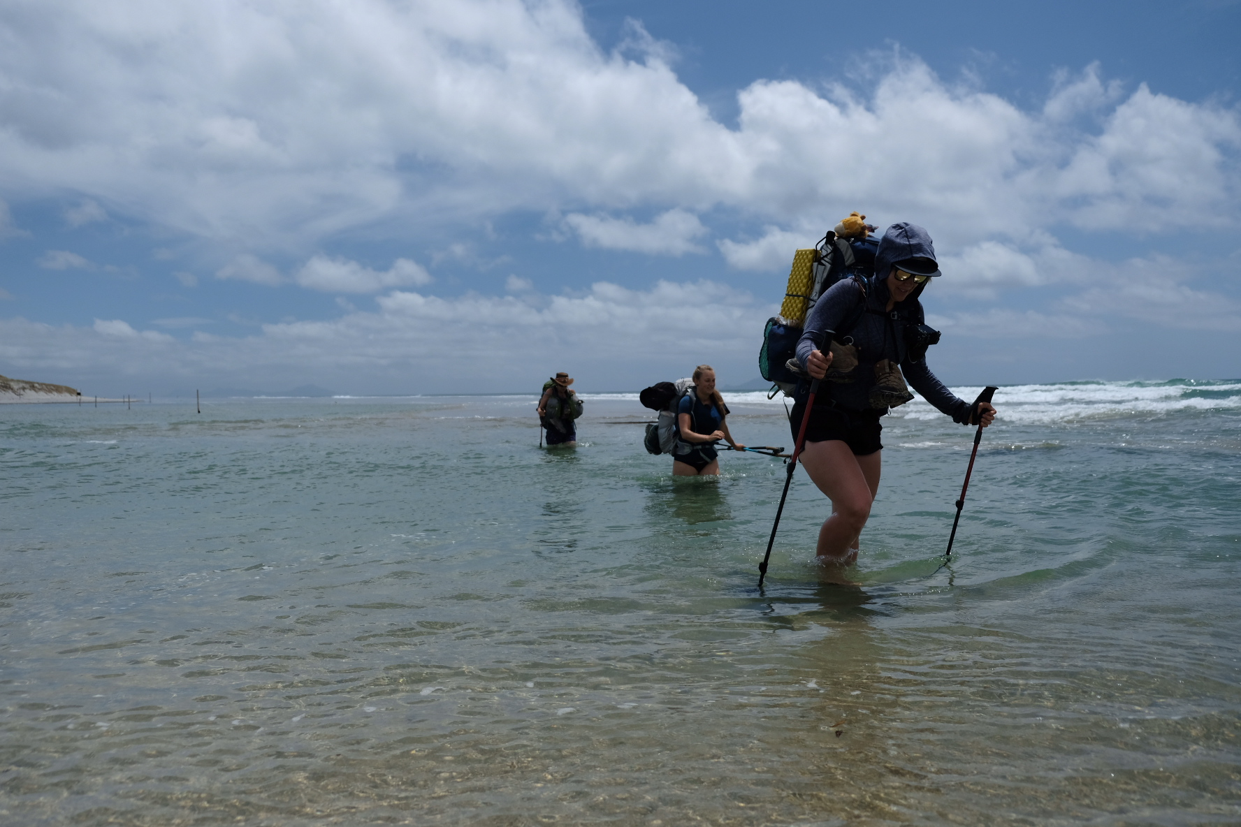 Estuary crossing: Sarah in front, Iben immediately behind, and Marte in the back