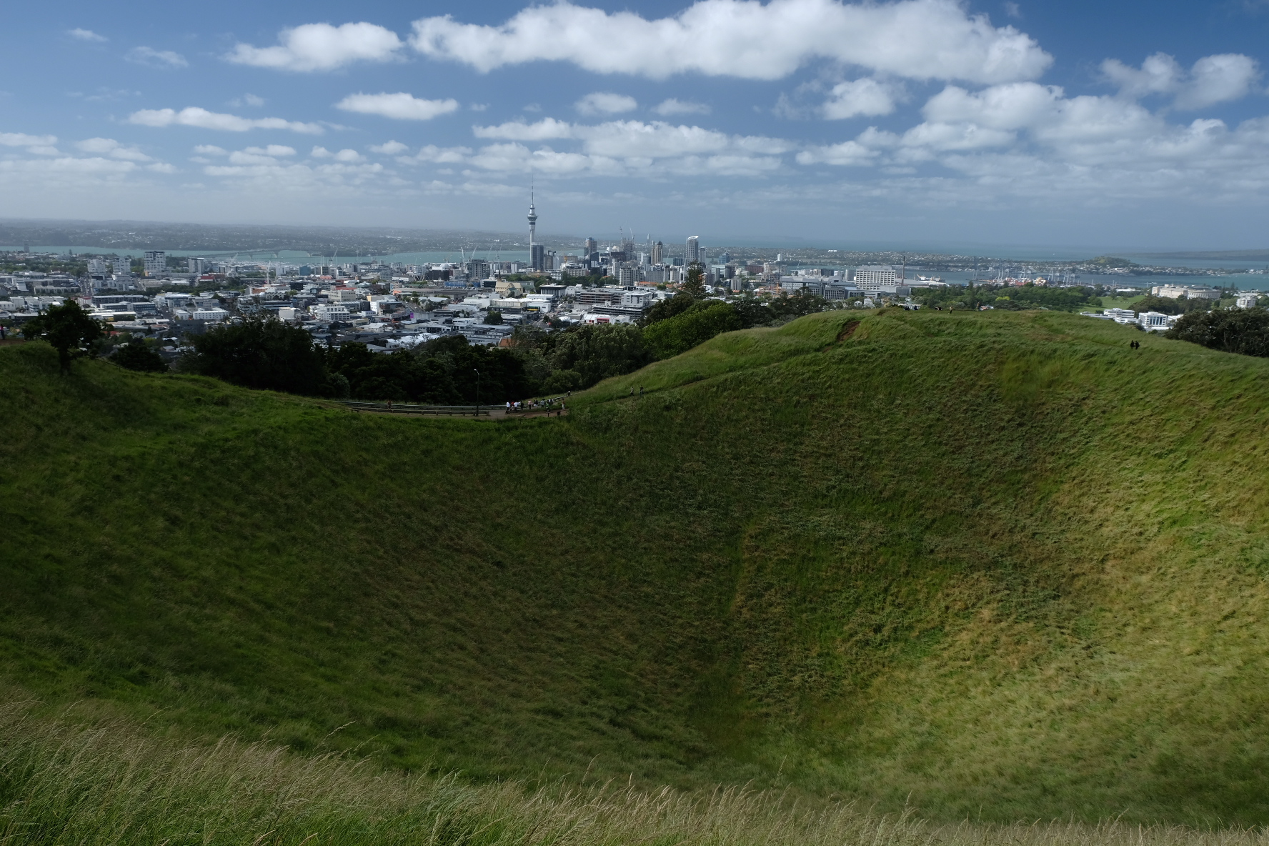Auckland from Mt. Eden. (Skytower actual size)