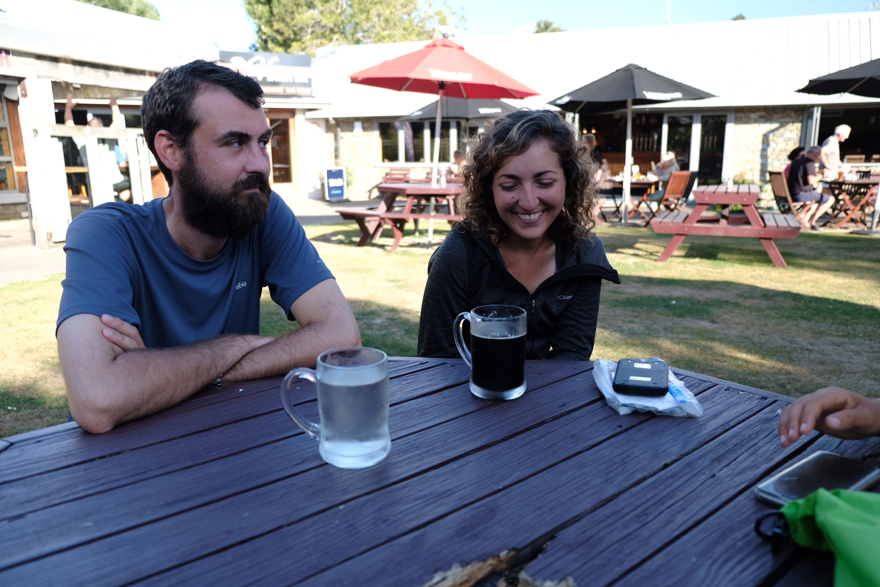 Francois and Marion in Geraldine. That is not water but cider. Francois is obviously still thinking of the Nutella/cheese combo.