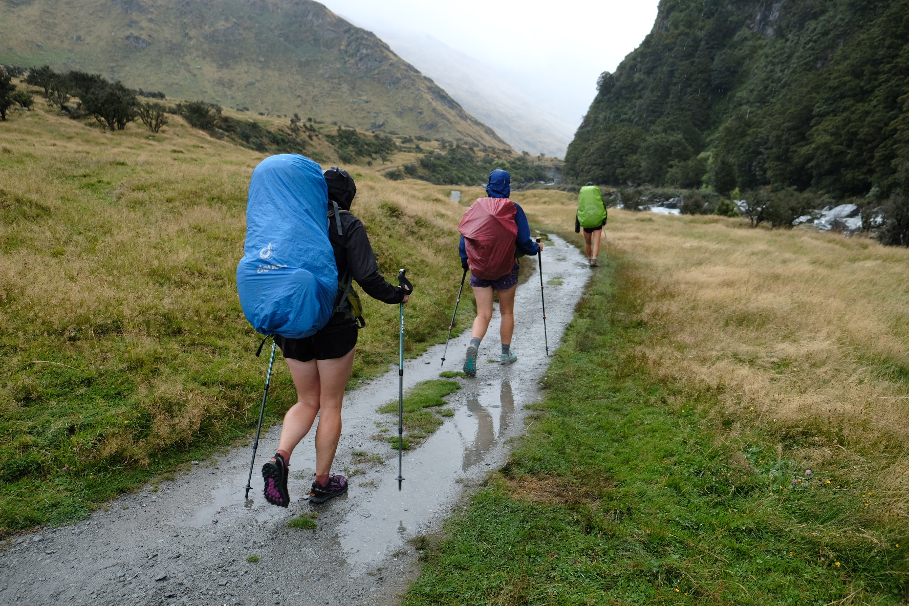 Tramping in the pouring rain