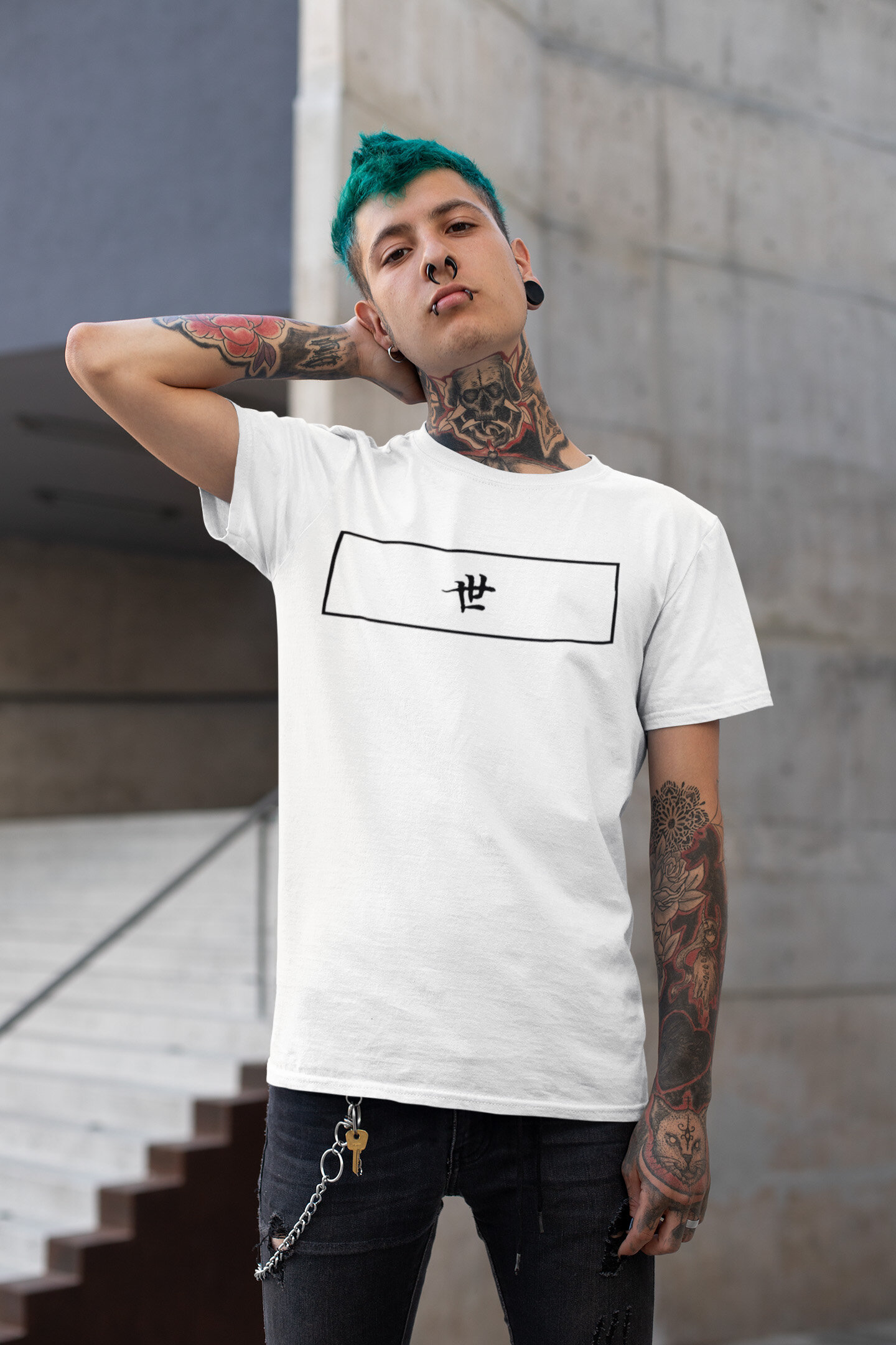 t-shirt-mockup-of-a-punk-man-with-blue-hair-and-tattoos-posing-by-a-stairway-26480.jpg