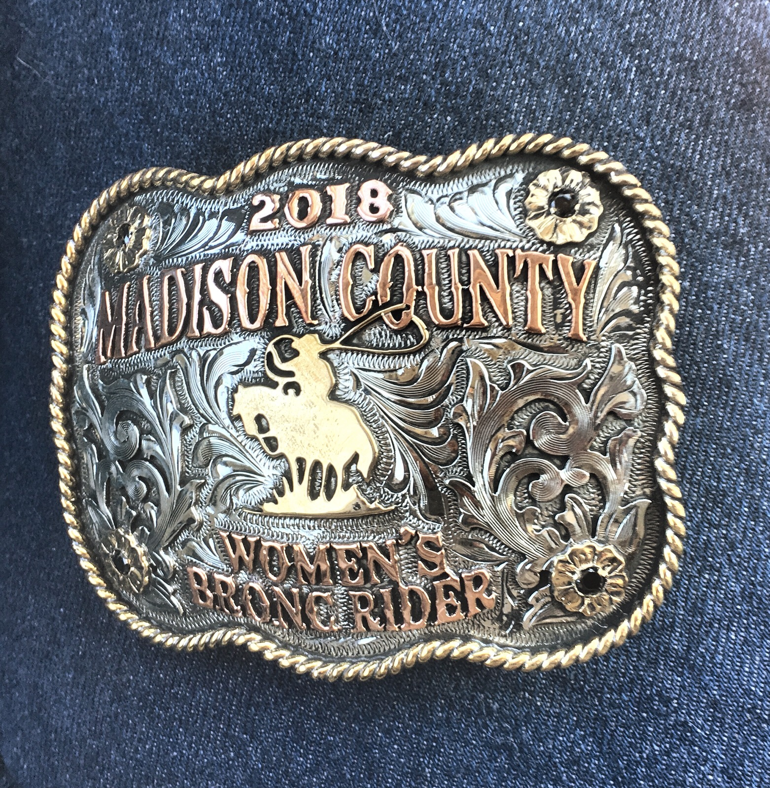 Brittany Miller has won the Madison County Women's Bronc Rider title three consecutive years!