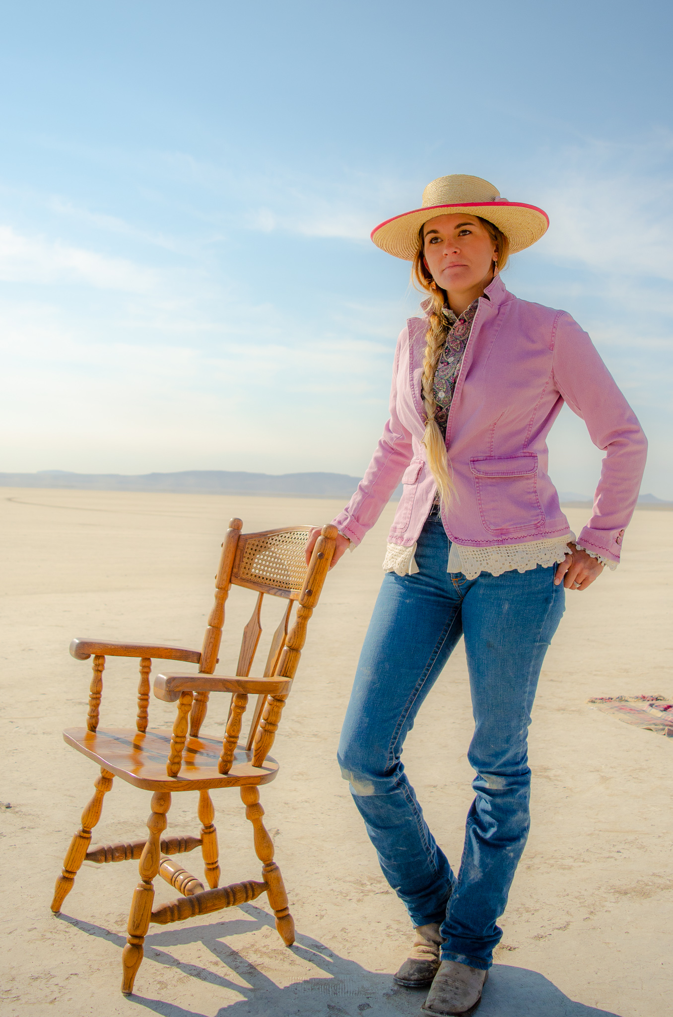 Morgan is oh-so-classy in this vintage, half-button paisley shirt and Desert Boutique re-worked jacked. Look also includes Kimes Ranch Jeans, a Sunbody hat, and Justin boots.