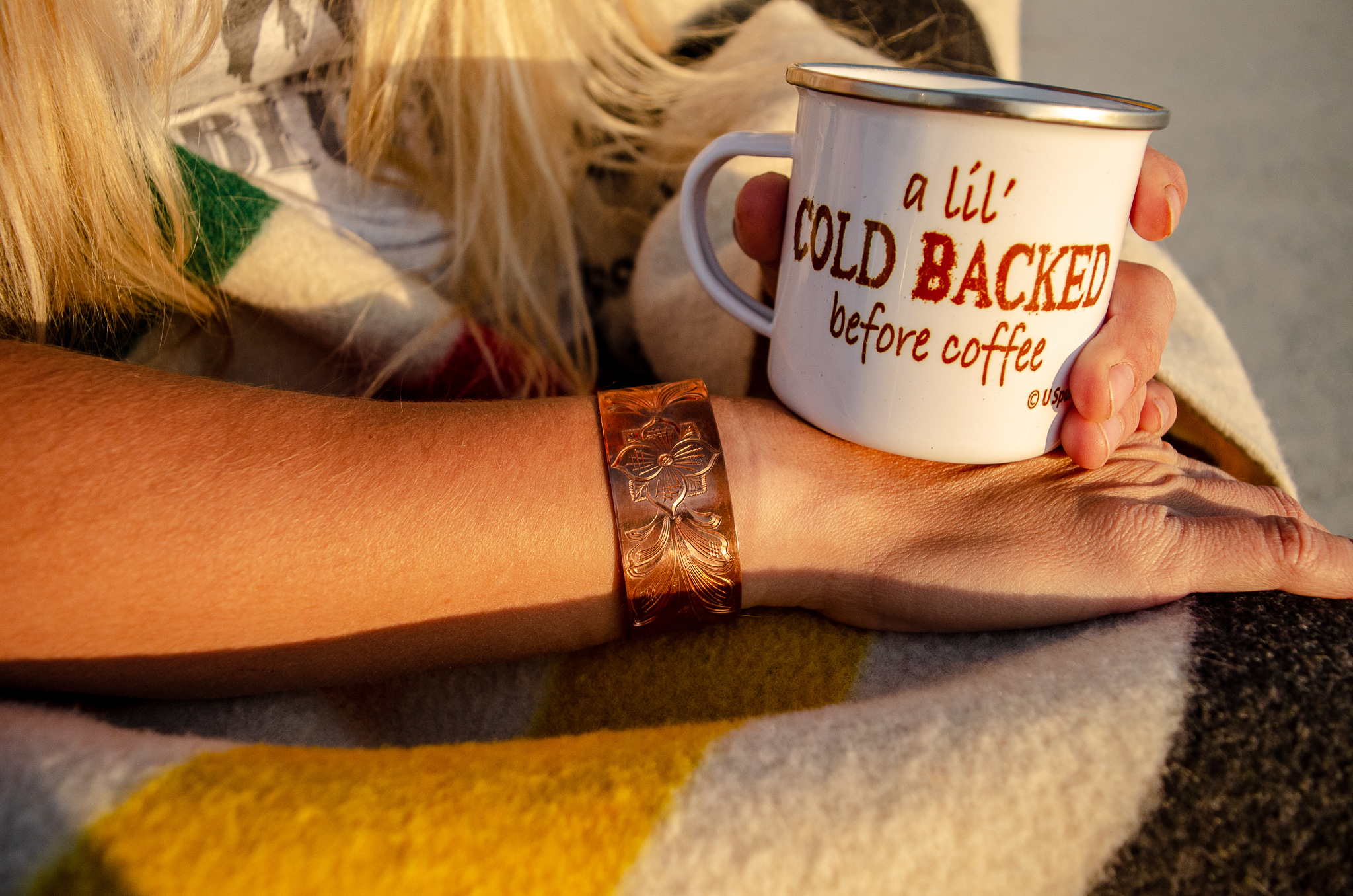 Copper cuff by The South Fork Outfit,  A lil Cold Backed Before Coffee  mug by U Spur.