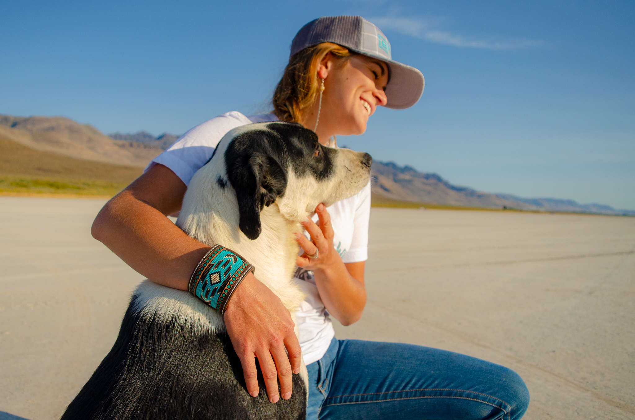 All the desert vibes on the Alvord with a girl, a little bead action and her dog.