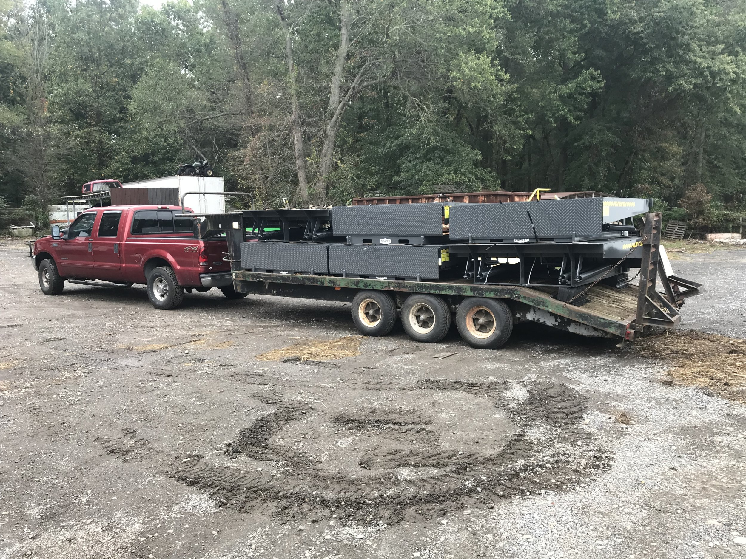 Six dock levelers ready to be delivered to the job site.