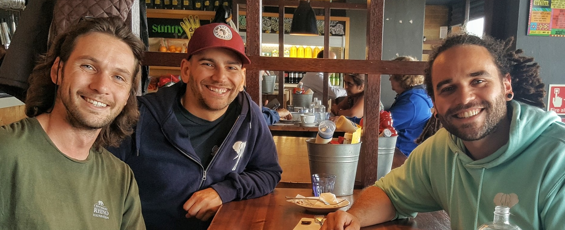 Sam, Ross & George enjoying a coffee at  Urban Reef  in Bournemouth.