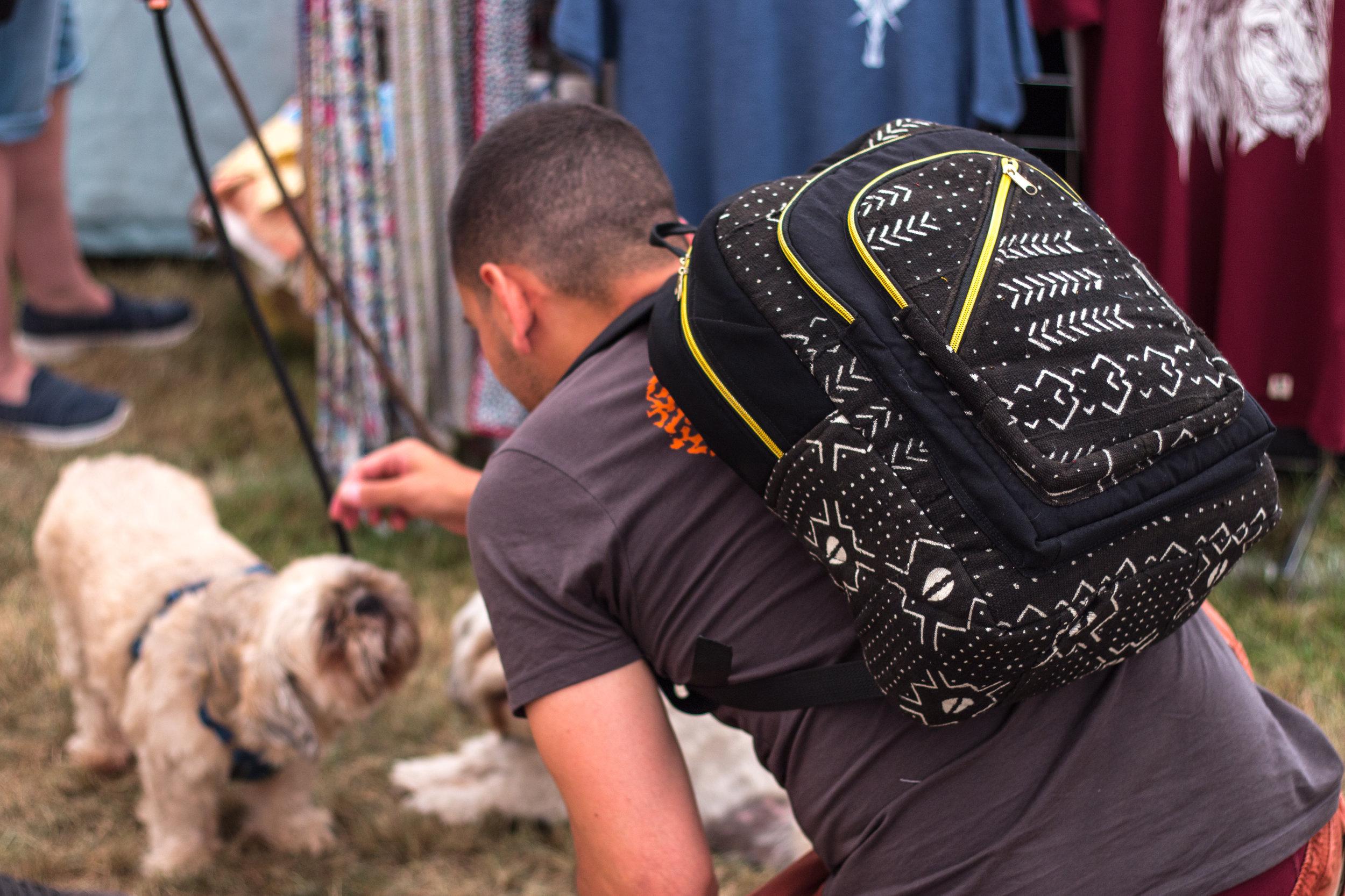 Mud cloth backpack by Kobina in Cape Coast, Ghana