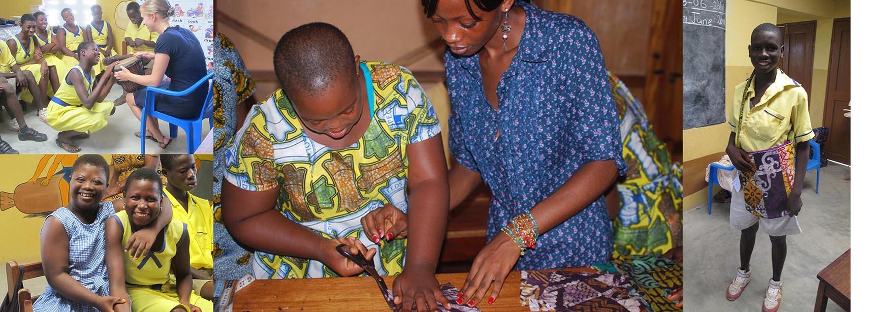 Volunteers helping students create the bags at Aboom School.