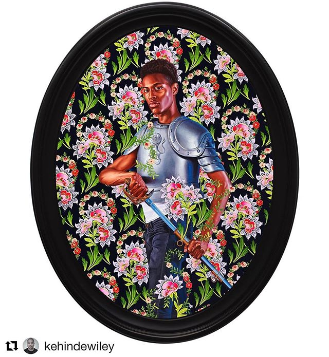 Portrait of Llewellyn Doris, 2019 Oil on linen 83.86h x 62.99w in @kehindewiley @blackrocksenegal @lluedoris #soul