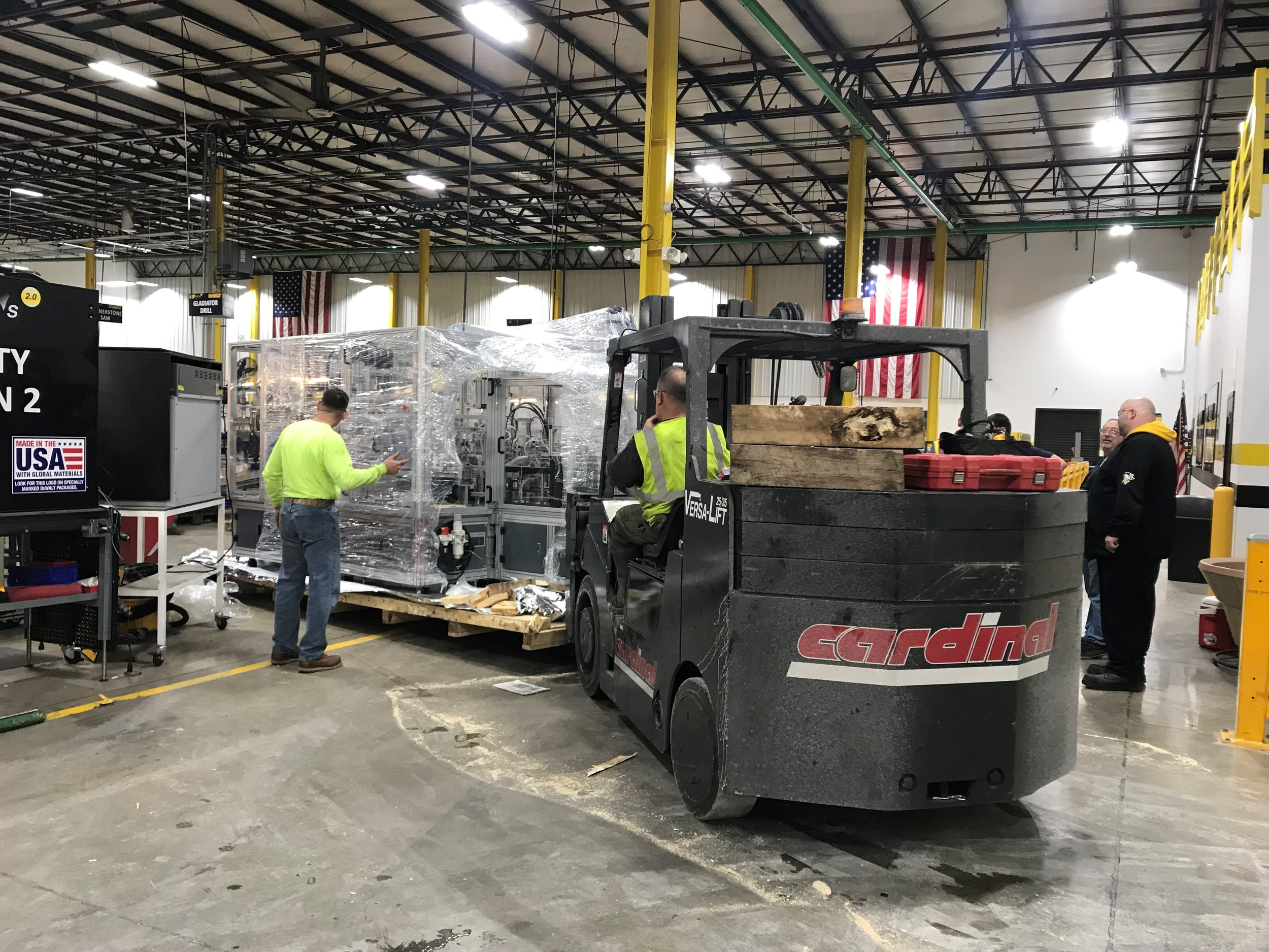 Stanley Black & Decker, 1/17/18 - Cardinal unloaded, set, and leveled an Ironman gear case for Stanley Black & Decker in Greenfield, IN. Three of our guys and a heavy-duty forklift completed the job in one day.