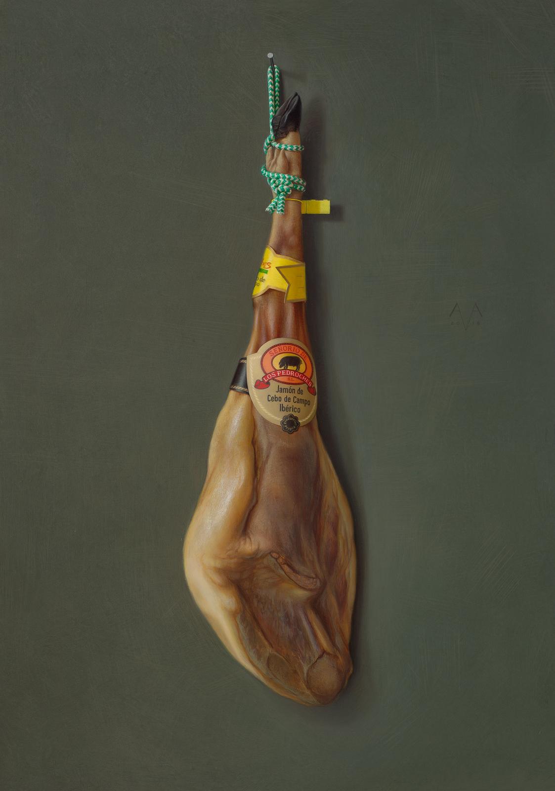 copyright Arnout van Albada - Jamon iberico pedroches - 105 x 74 cm - egg tempera and oil on panel - 2016 .jpg