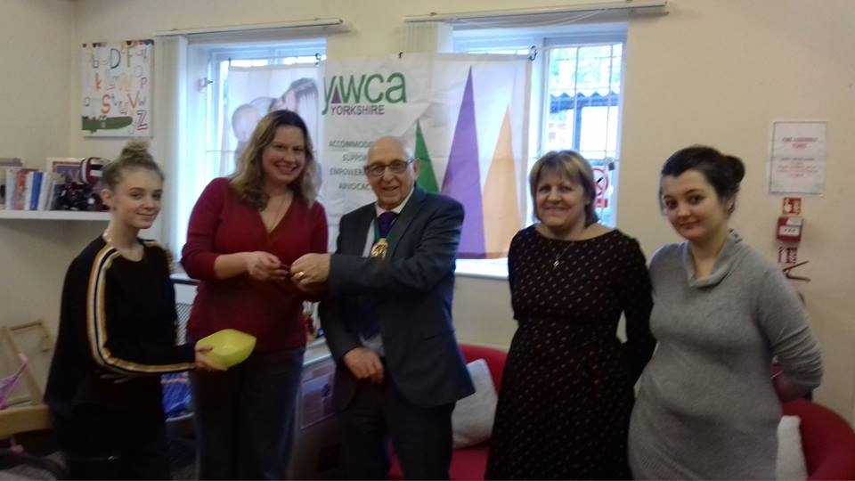 Tony Downing (centre) meets with Project Manager Sue Mastro (centre right), Senior Project Worker Claire Harding (centre left) and Peile House residents.