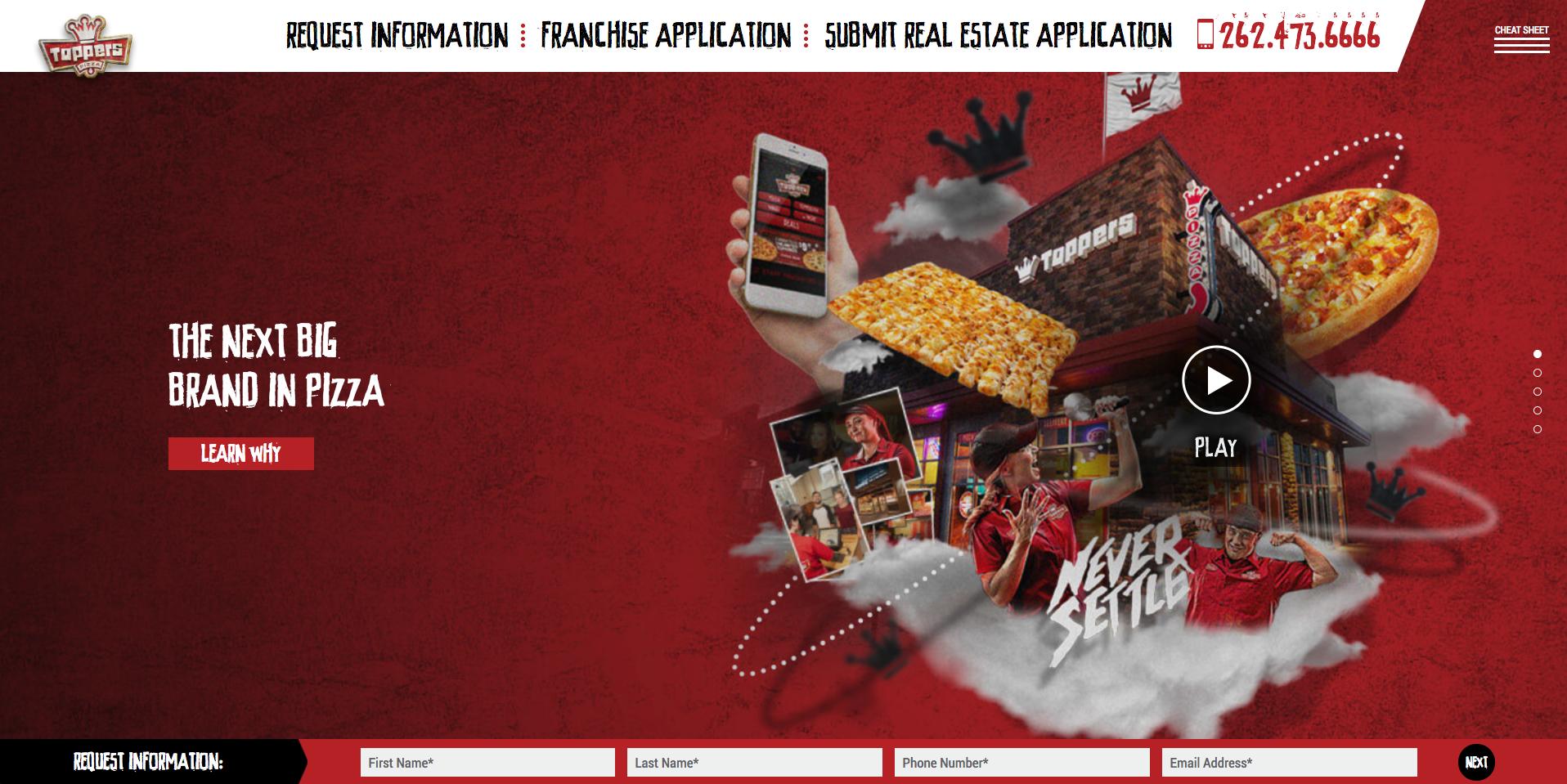 Toppers Franchise Development Website