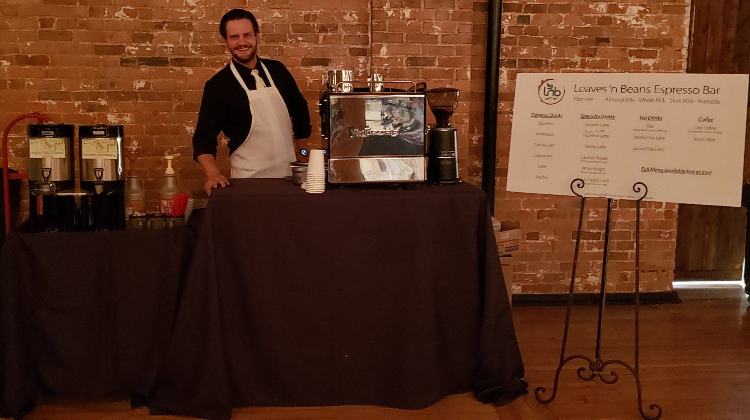Espresso Bar Catering - We now offer a full espresso bar to cater your next event.Pricing and InformationEspresso Bar Menu