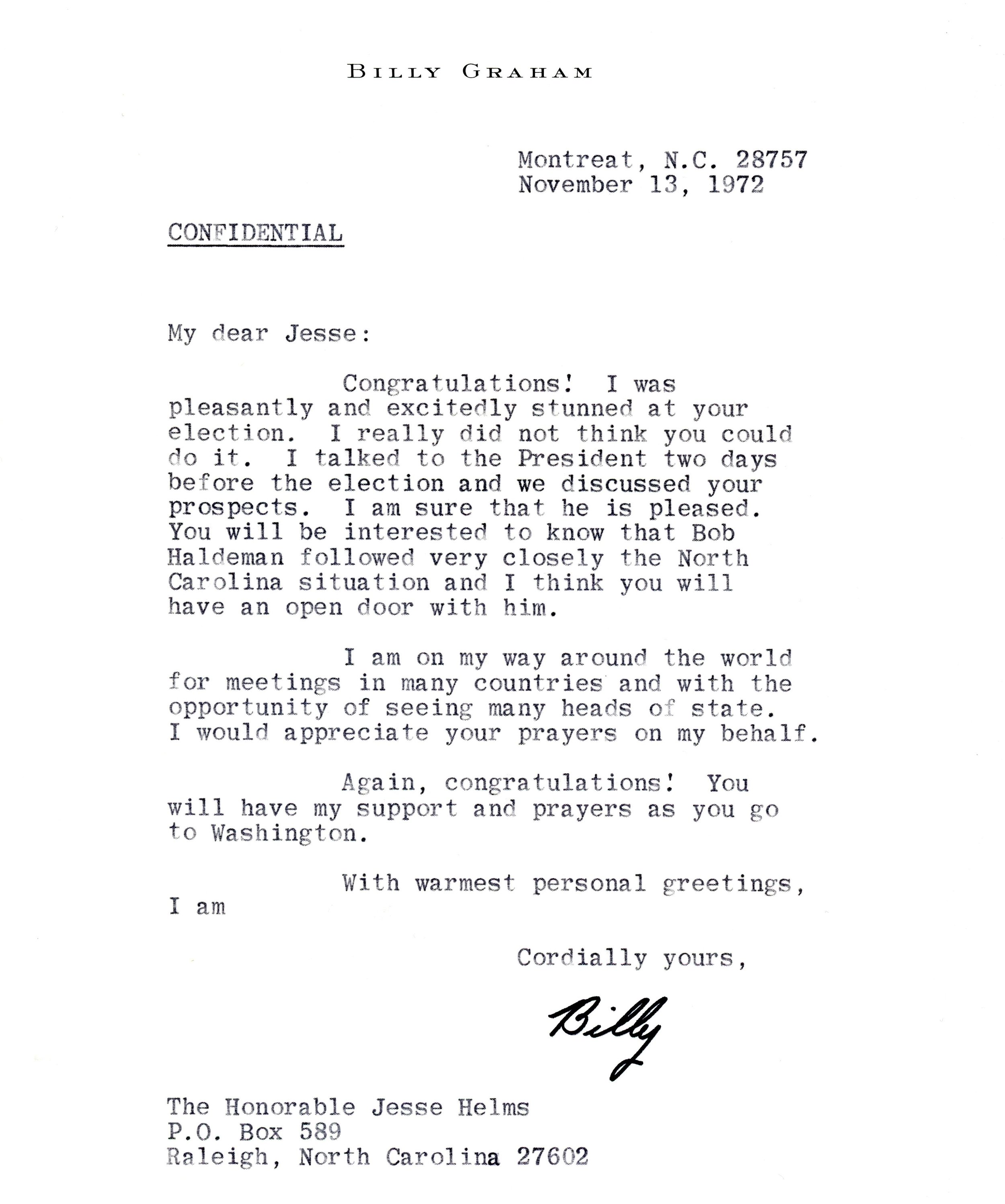 Letter of congratulations to newly elected Senator Jesse Helms from Billy Graham.