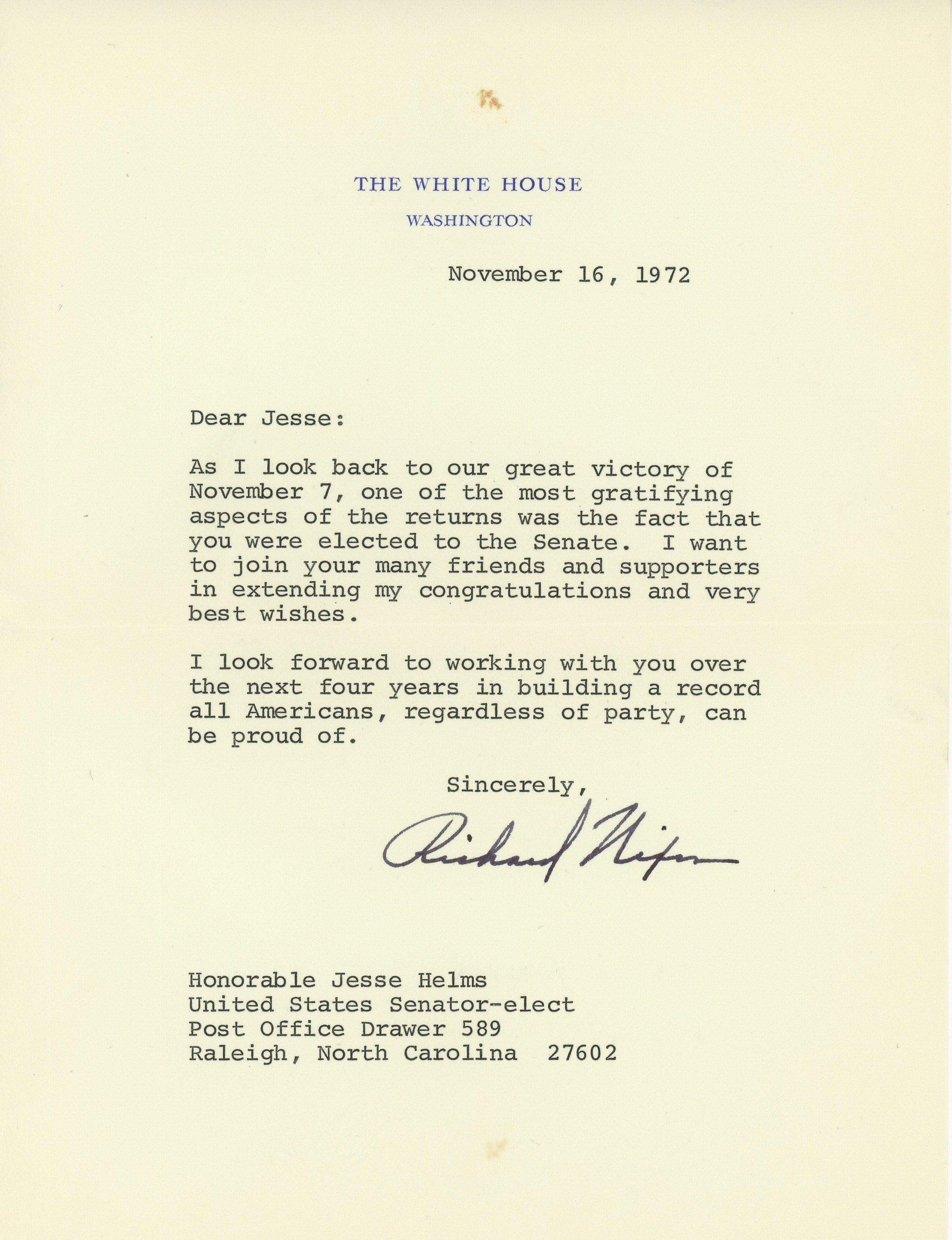 Letter of congratulations to newly elected Senator Jesse Helms from President Richard Nixon.