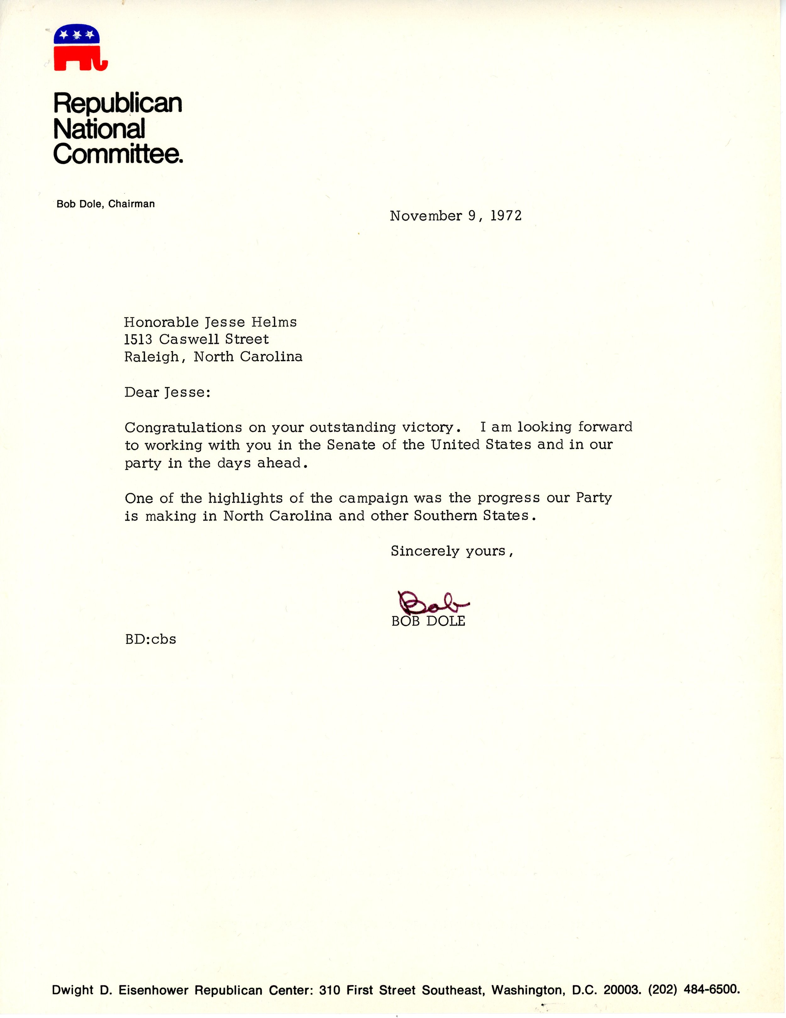 Letter of congratulations to newly elected Senator Jesse Helms from Bob Dole.