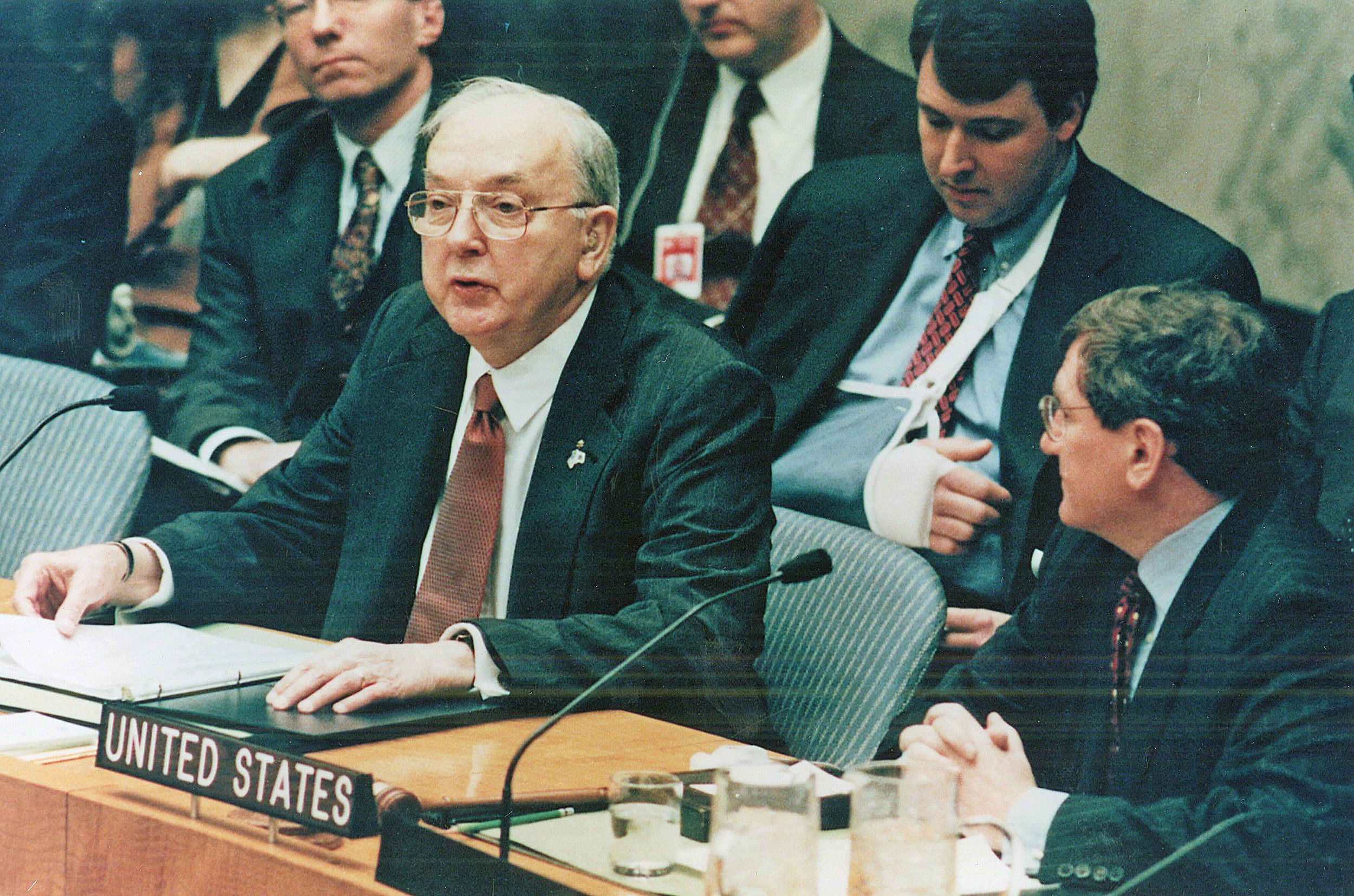 Senator Helms speaks at the United Nations Security Council, January 20, 2000.
