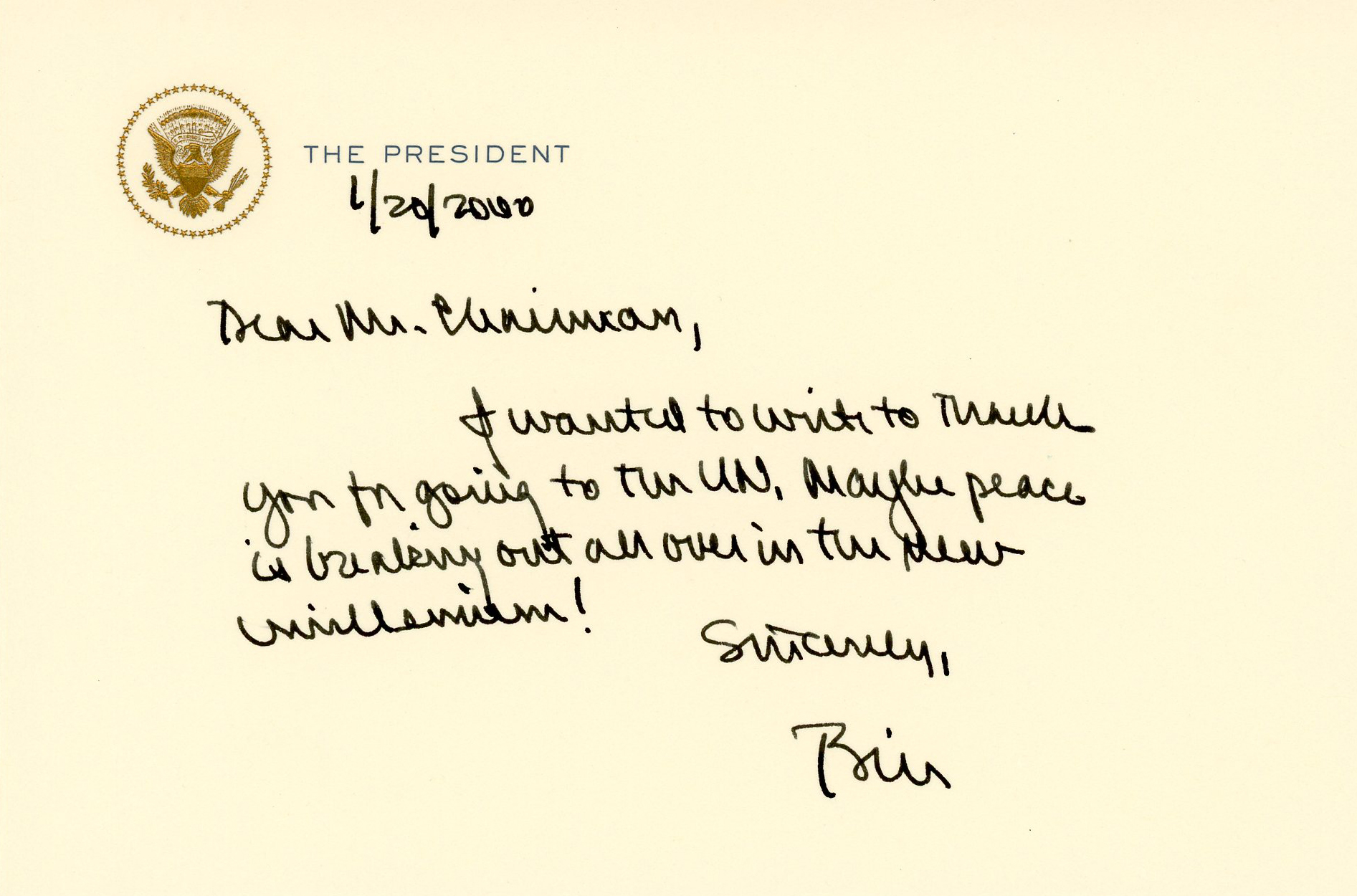 A handwritten note from President Bill Clinton thanking Helms for his work with the United Nations.