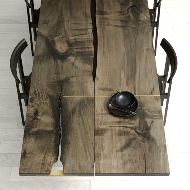 Can't get enough of @urbanhardwoods  oxidized finish on this beautiful piece of western maple. Brass details, to boot.