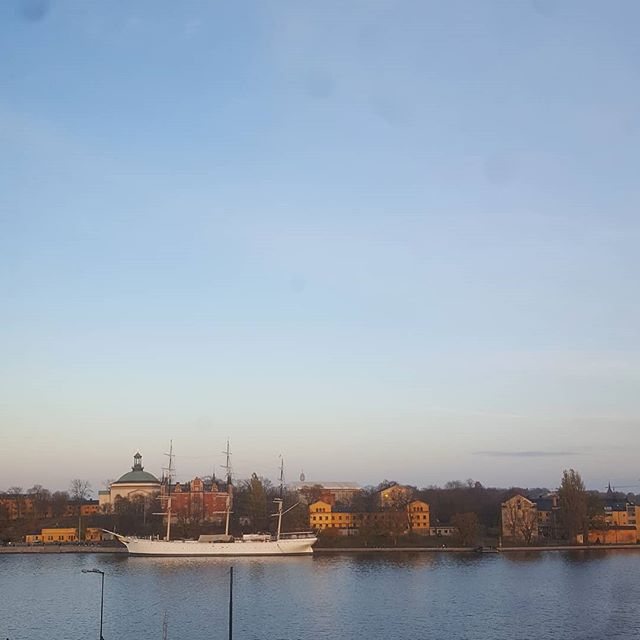 Sunset view from the @garsnas1893 showroom in Stockholm.