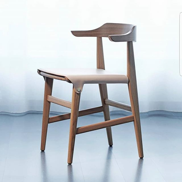 New Hedda Chair from @garsnas1893, shown in wood and leather. Big hit at the @sthlmfurnfair this year.