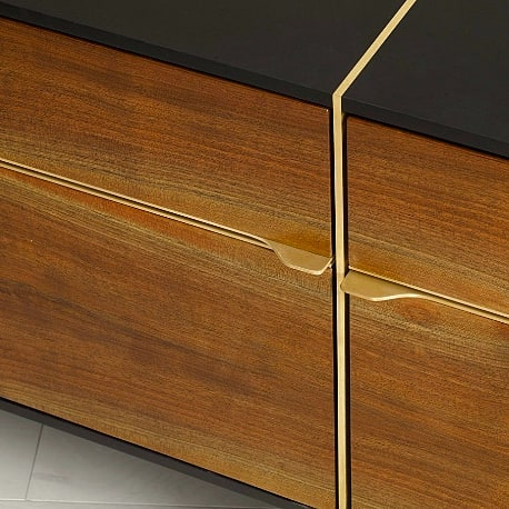 Little #brass + #walnut drawer detail w/ @wearepaperstone carcass. Executive Collection from @urbanhardwoods