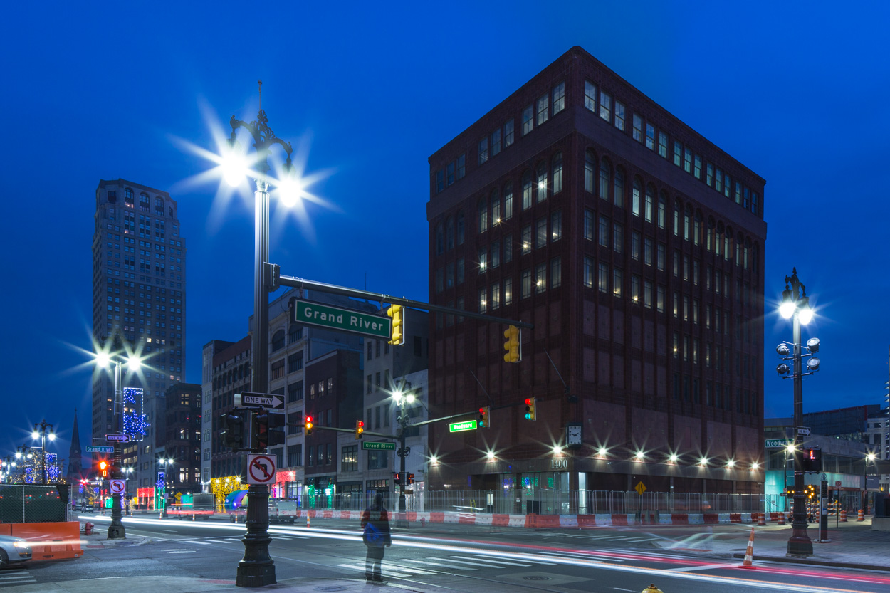 Woodward and Grand River, the famed corner that will become home to the Shinola Hotel, Detroit
