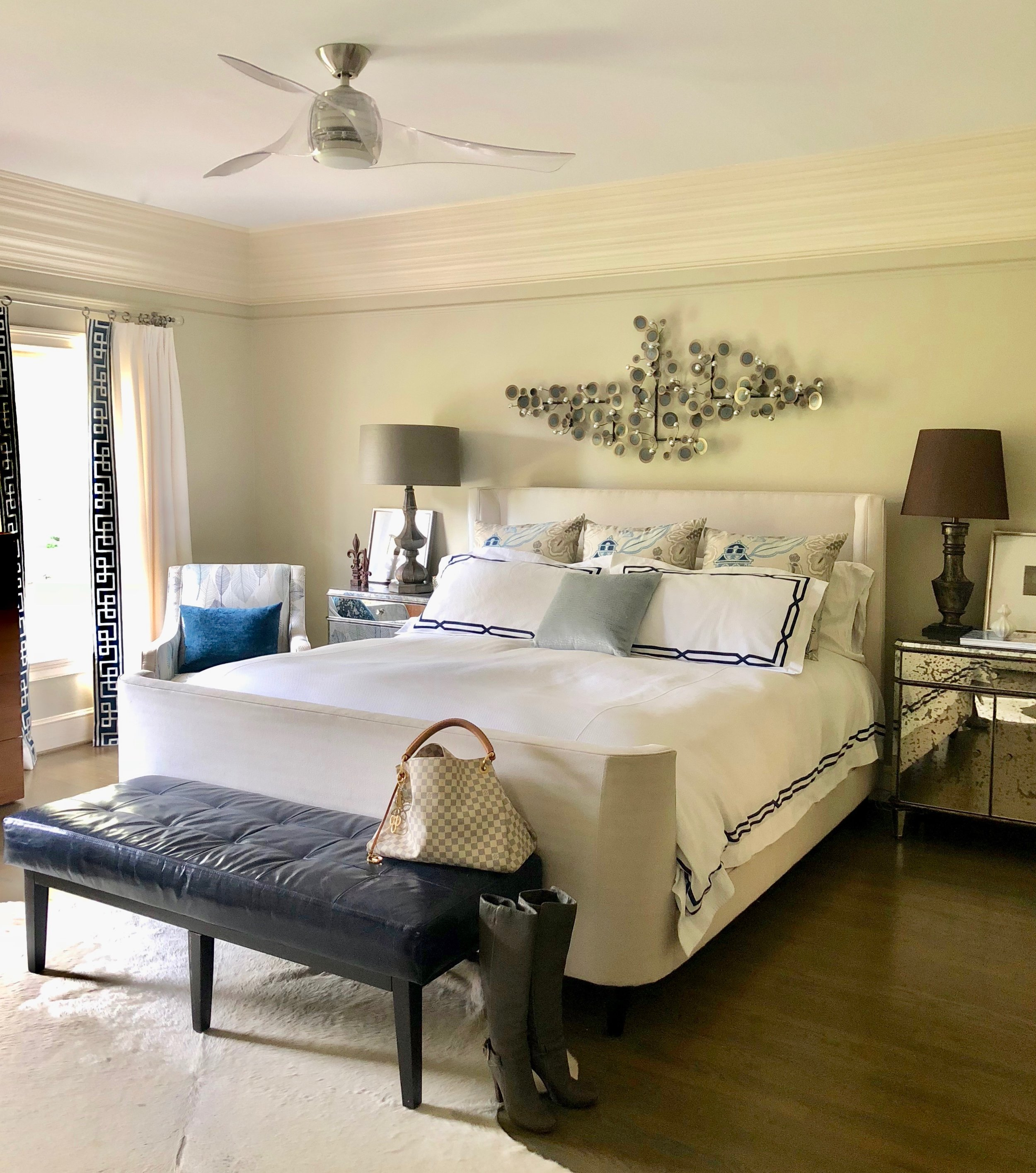 My master bedroom with  Minka Aire's Artemis Acrylic ceiling fan