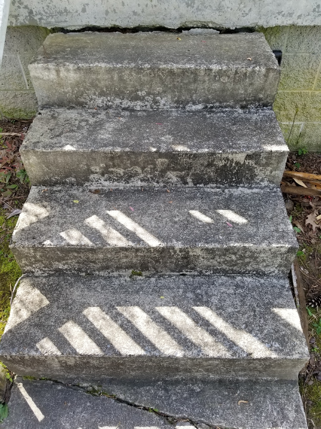 Wear & tear, dirt, and time makes these stairs look worn down!
