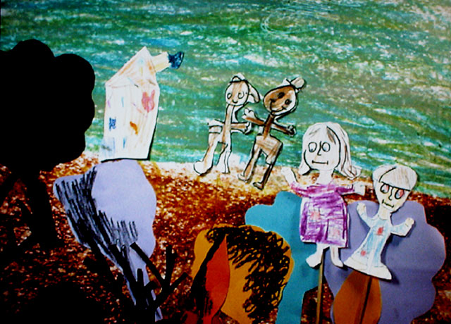 Kids; drawings, collage, puppets. Still from video