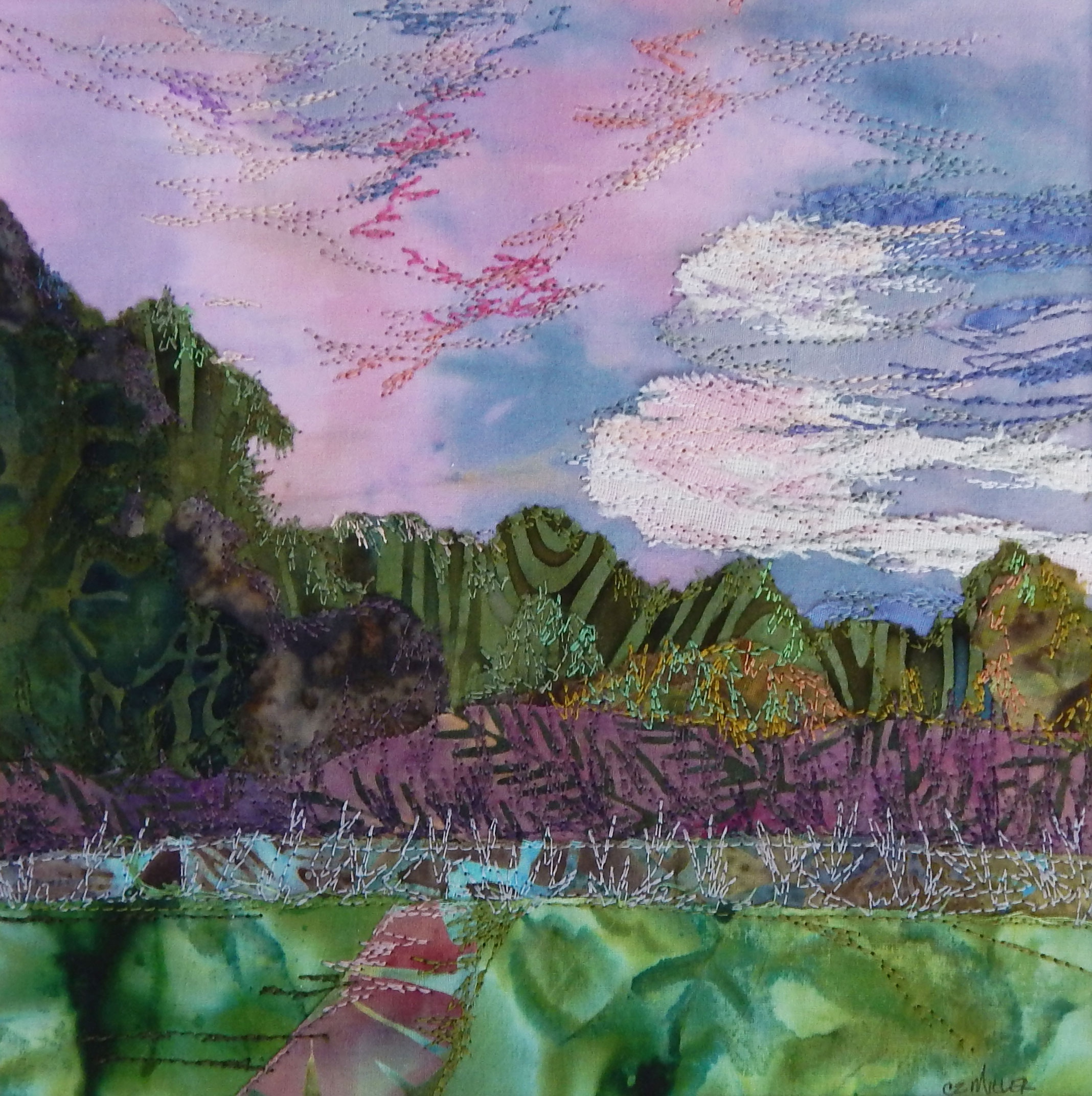 Evening Sky  - framed fabric collage made with hand dyed cottons, batiks and linen, machine stitched / raw edge appliquéd