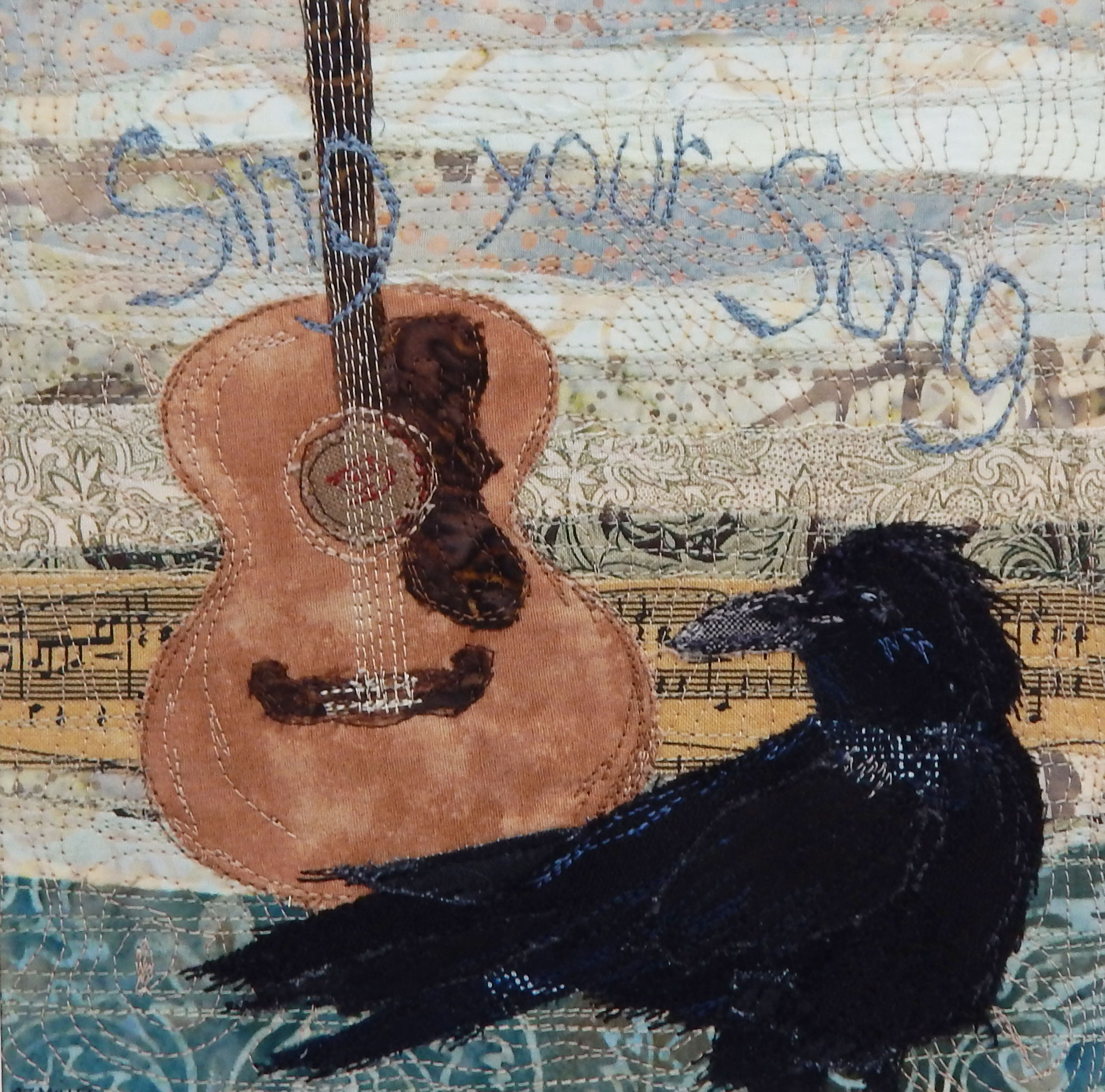 Blackbird's Wisdom - framed fabric collage - on in my Etsy shop…