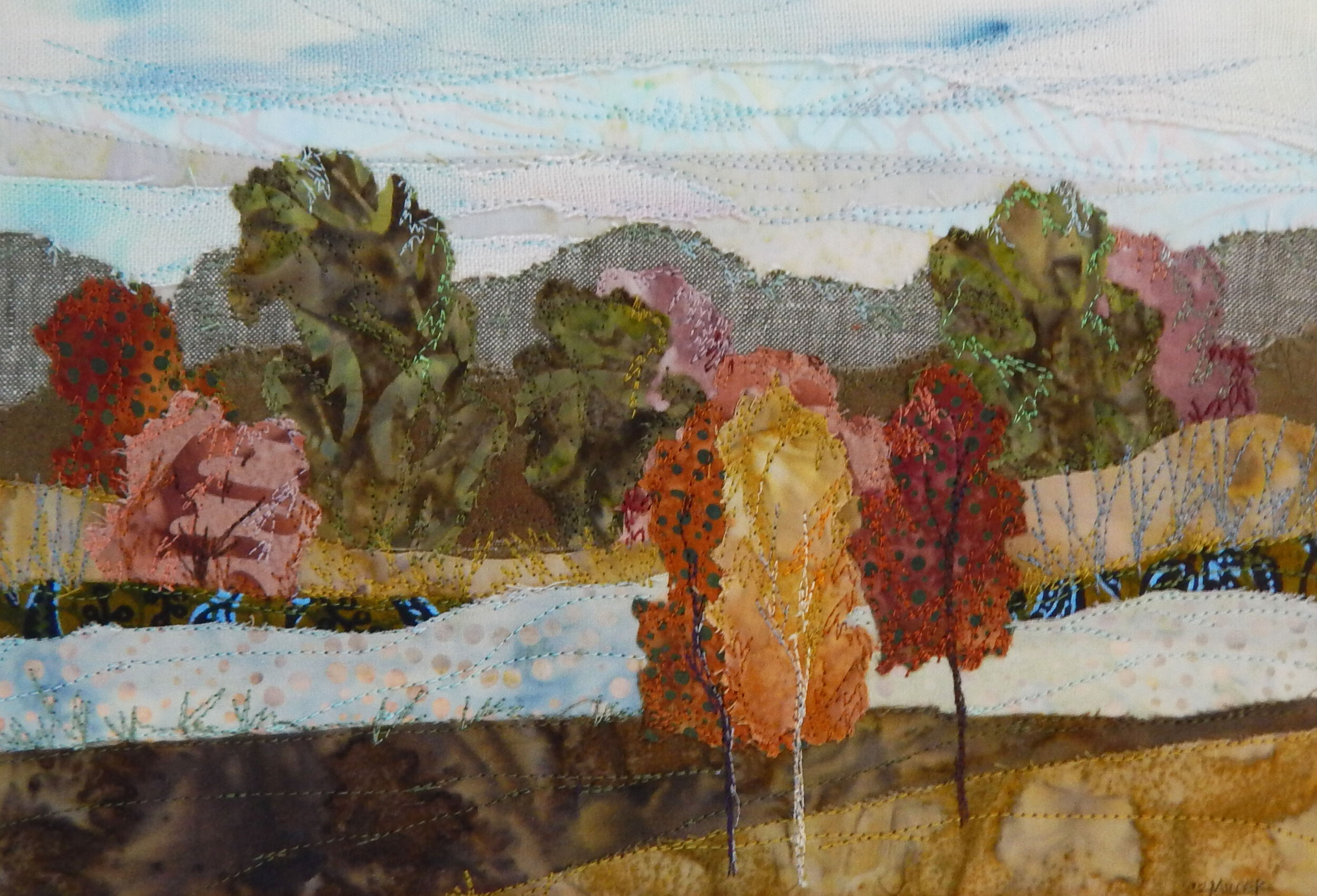 Early Autumn - framed fabric collage made with hand dyed cottons, batiks and linen, machine stitched / raw edge appliquéd