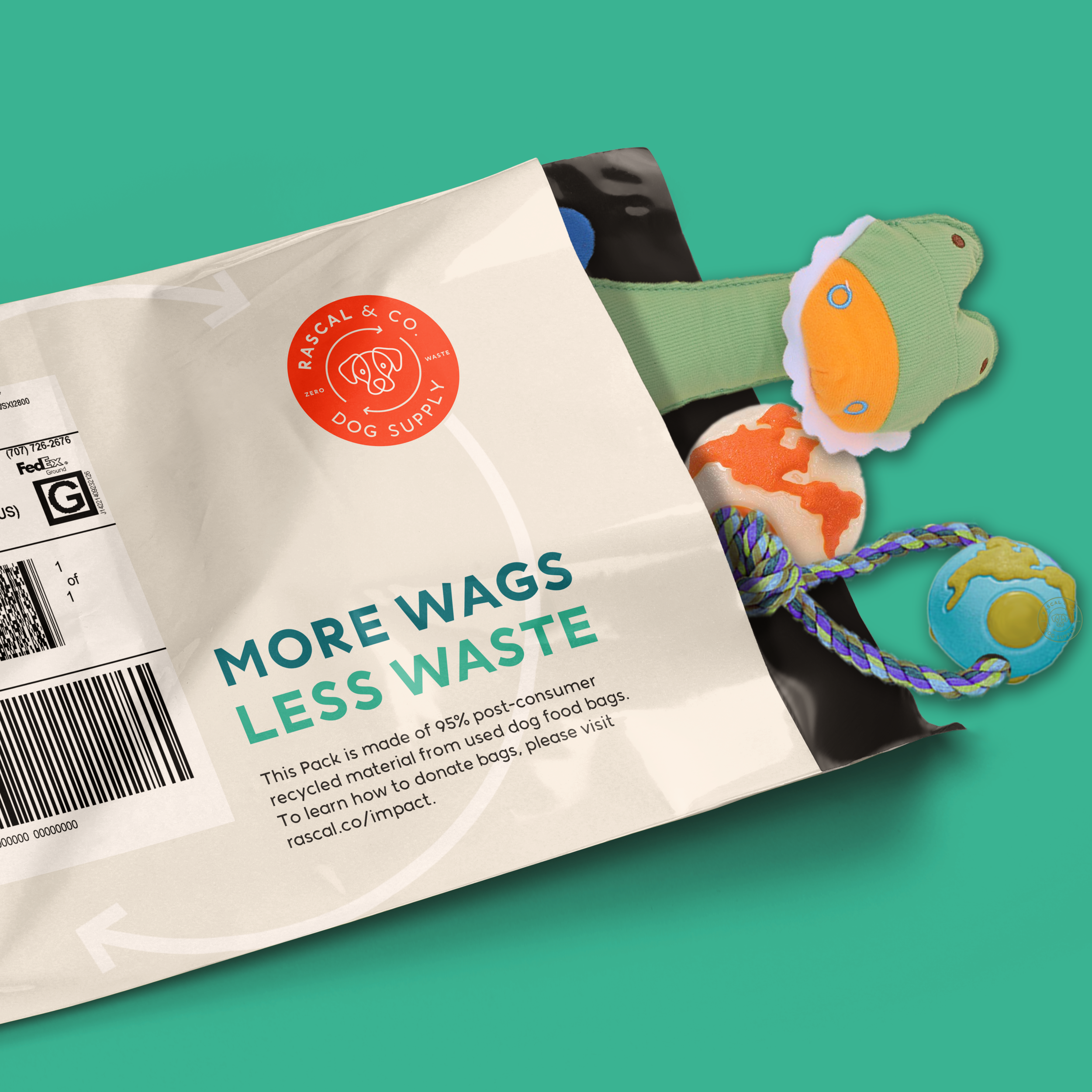 In an effort to contradict the wasteful packaging trends in today's direct-to-consumer market, each Rascal Pack is made of post-consumer recycled dog food bags and designed for re-use.