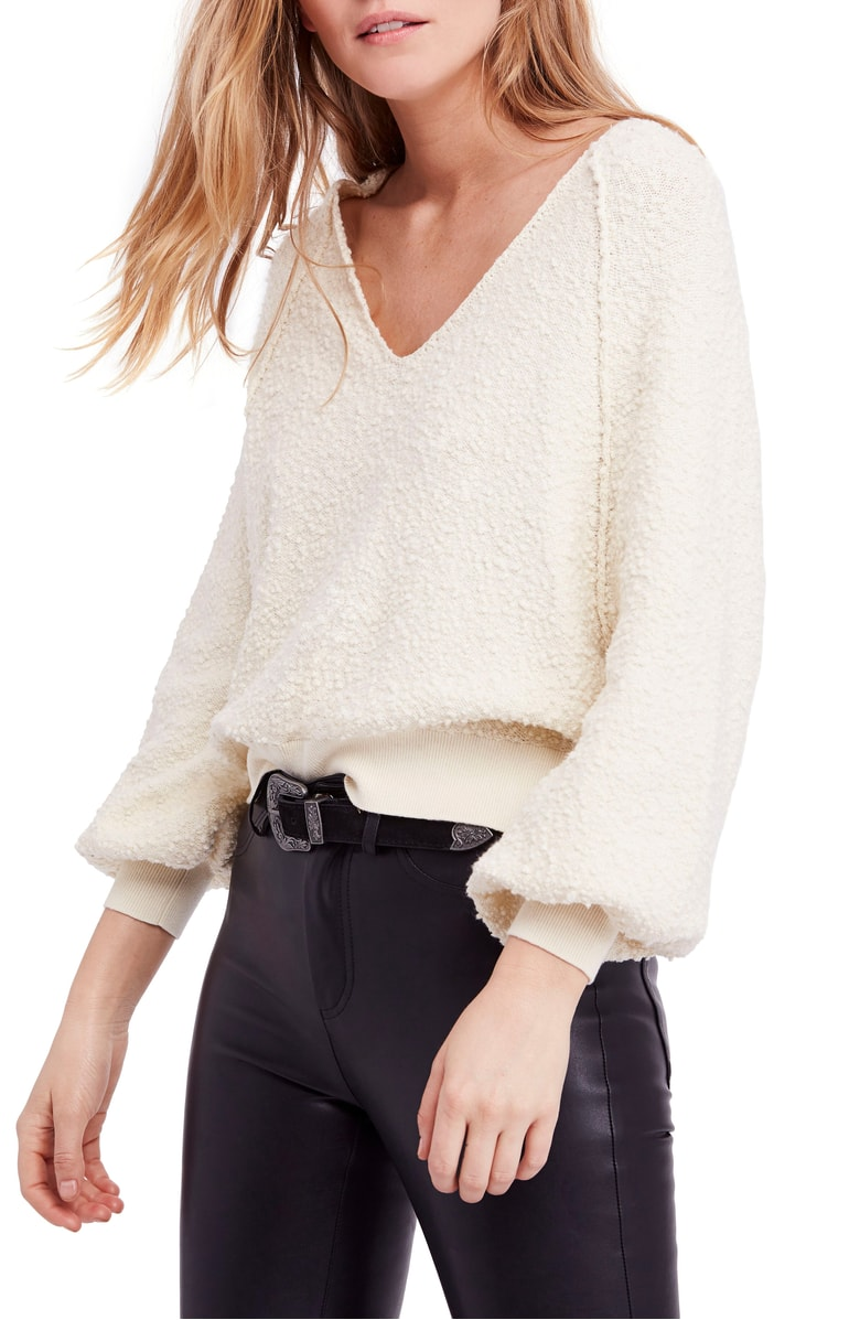 This in every single color . There are so many and it looks like some heavenly thing from high school combined with the sweatshirt your husband has had for 20 years and also maybe something that would be sexy with a bralette - cute with ripped jean shorts, leggings, high waisted jeans... OK are you convinced yet. Free People also lasts forever. This is a good deal.