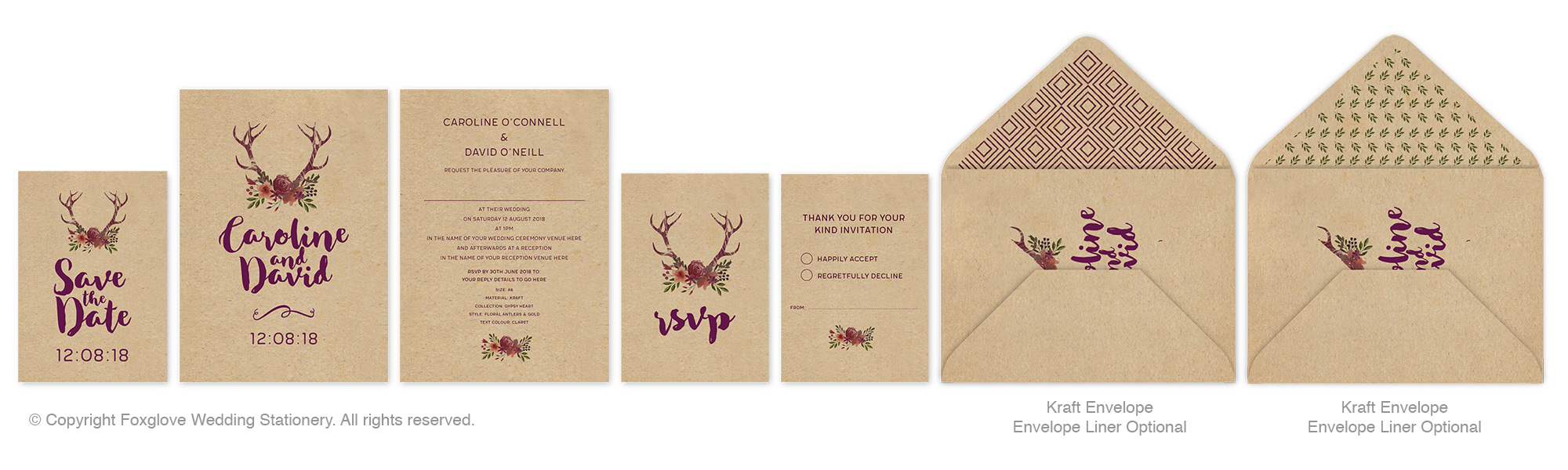 FLORAL ANTLERS - This range can be printed on Uncoated, Gesso, Pearl, Kraft, Cream & Silk Card Stock.Price range A6 Invites from £1.40 per invite. Price includes matching envelopes.Contact us for Full Specification & Price Guide or to request a sample. See photographic image in the Gallery.