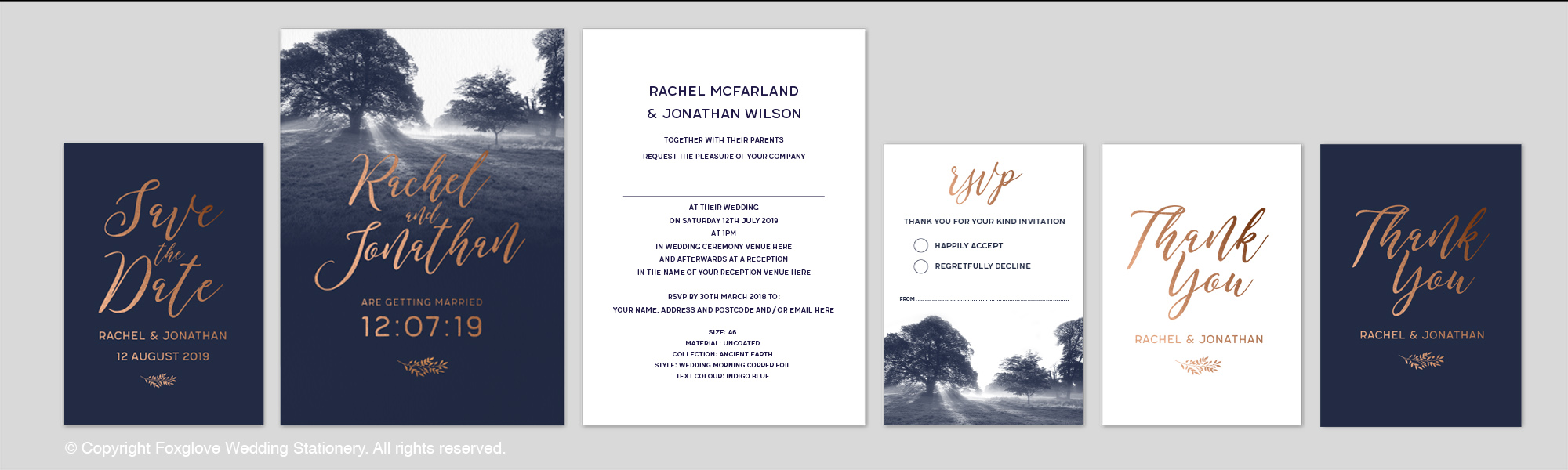 WEDDING MORNING - Foiled - This range is printed on 340g uncoated velvet laminated card. Text & detailing in metallic copper foil - gold & silver also available.This range comes with White Laid Envelopes as standard. (Metallic Envelopes also available.) Price Range from £2.10 per invite.Contact us for Full Specification & Price Guide or to request a sample. See photographic image in the Gallery.
