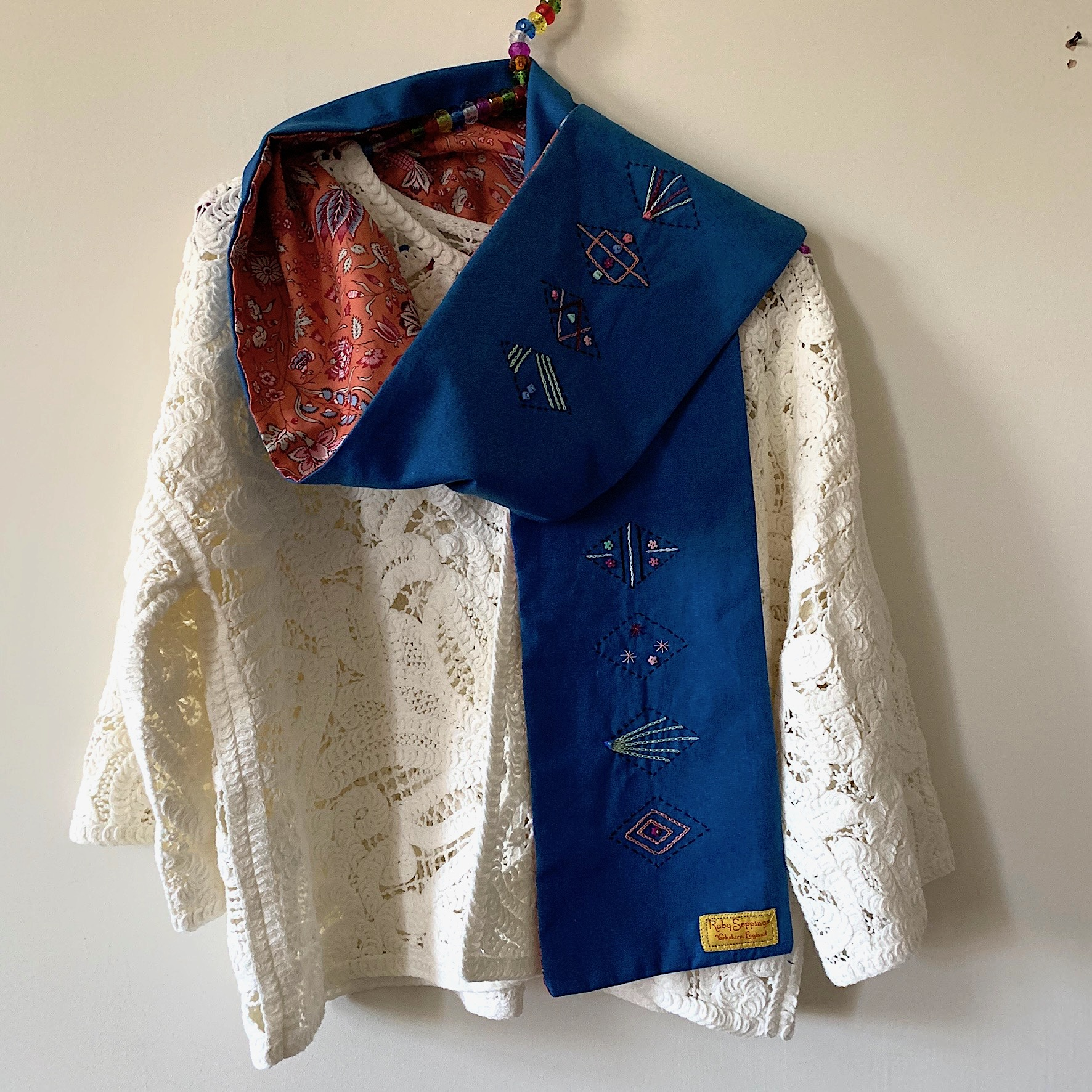 Blue:Burnt orange floral embroidered scarf.jpg