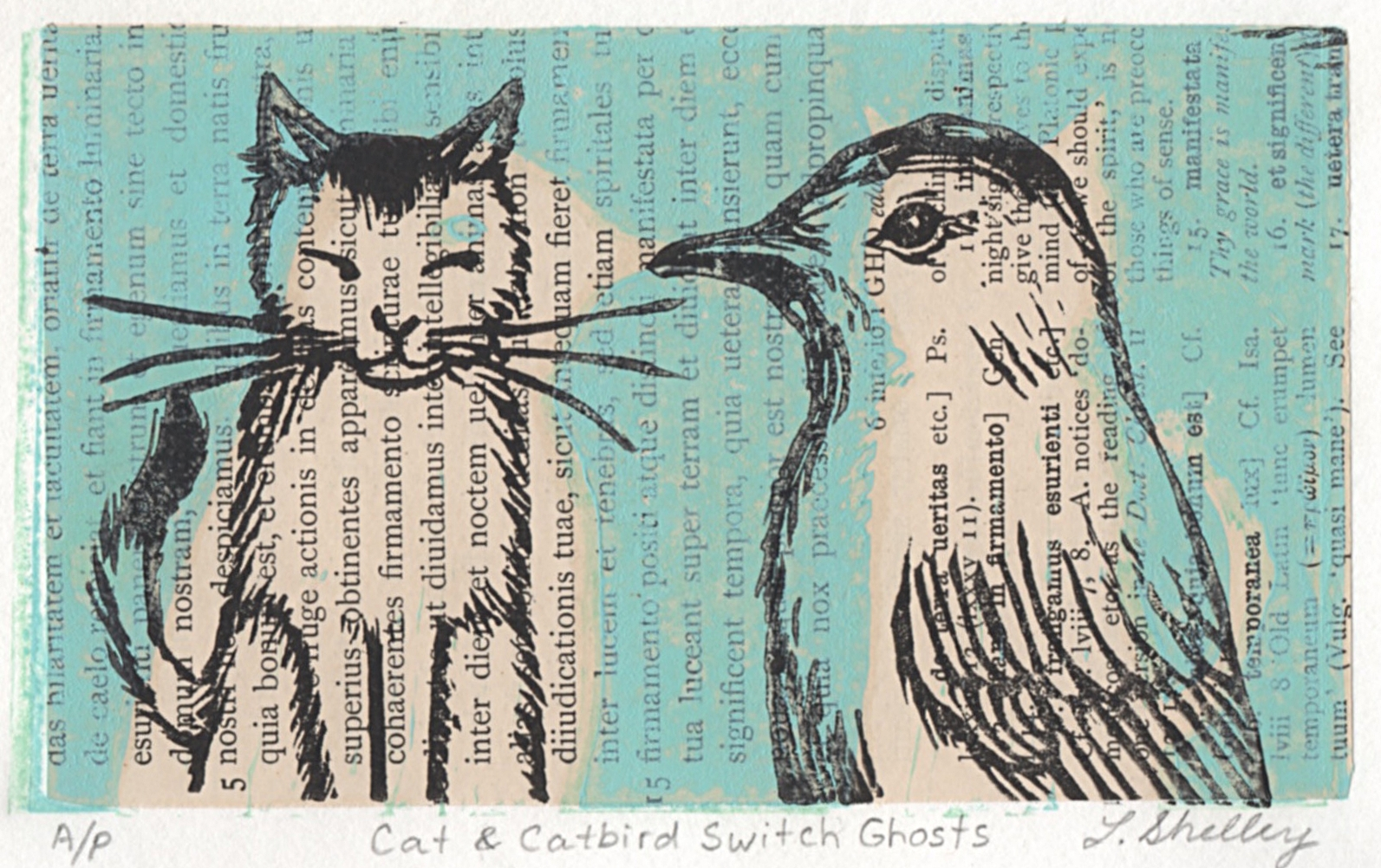 Cat and Catbird Switch Ghosts  -- Woodcut with chine colle antique book page. Artist proof