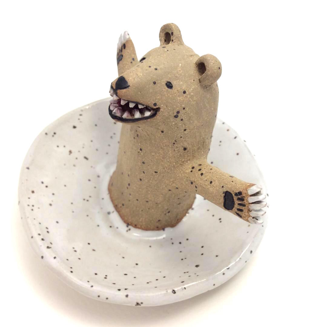 Bear on White Jewelry Dish
