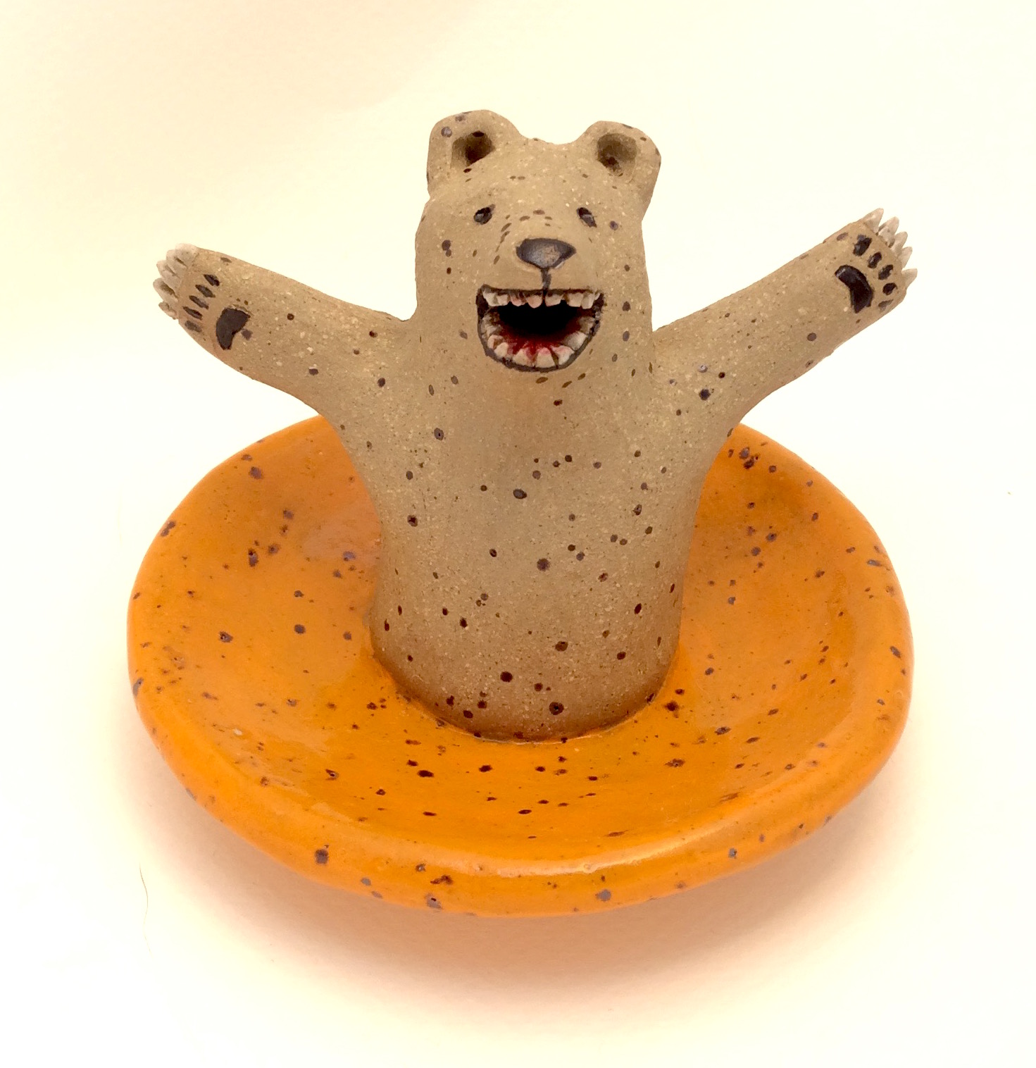 Bear with Orange Jewelry Dish