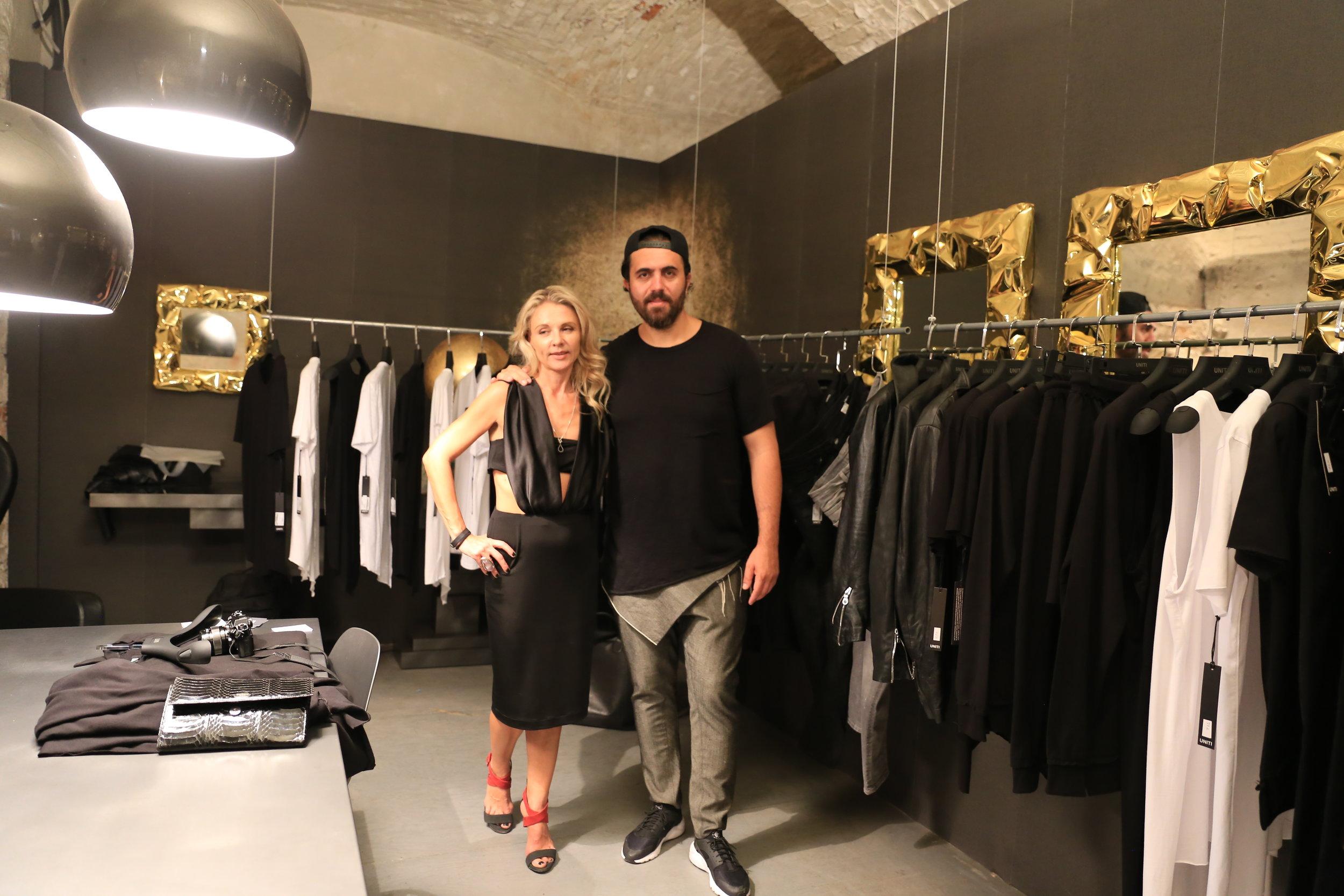 Babak Vosoughi (Uniti- designer) Ambra Zavattta (Queen of Noise designer).JPG