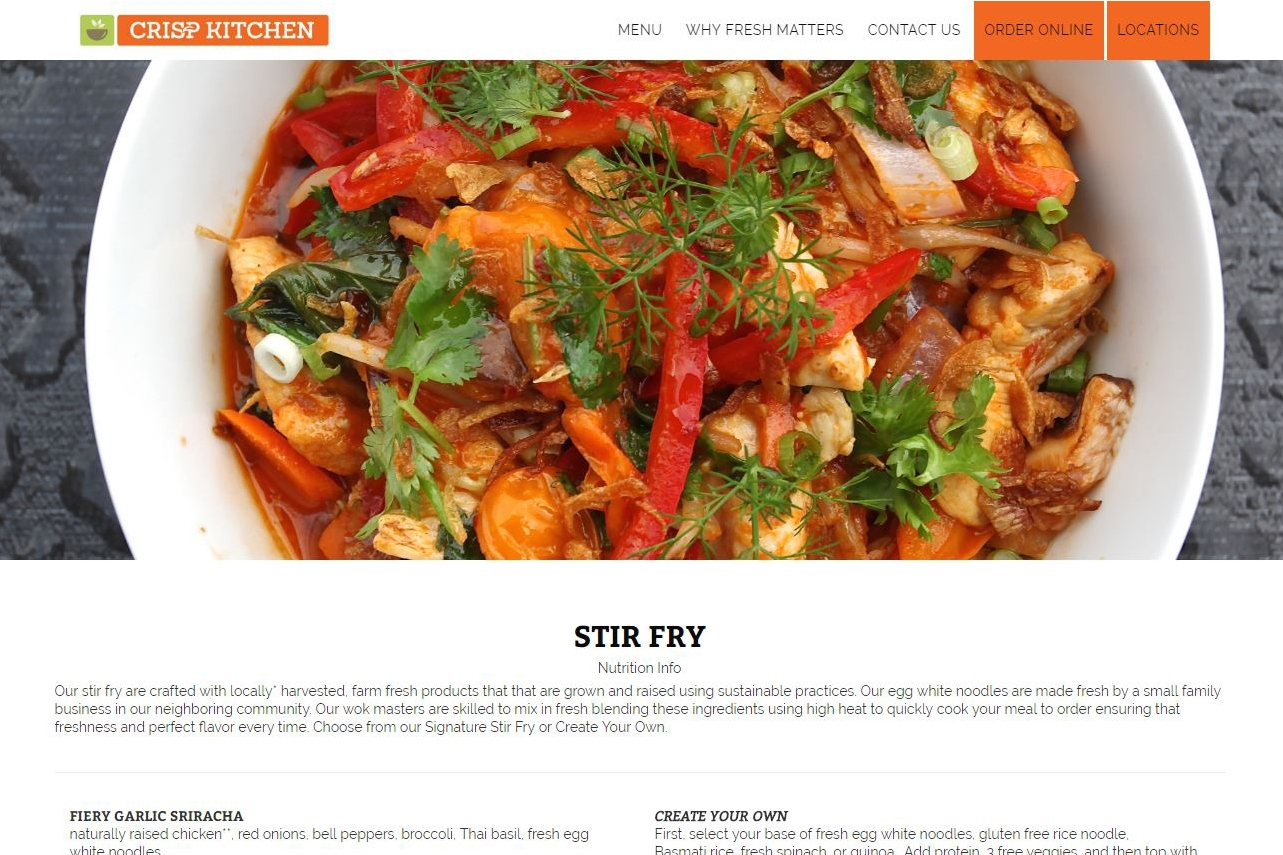 Menu - Crisp Kitchen's websiteis easy to search and visually appealing.