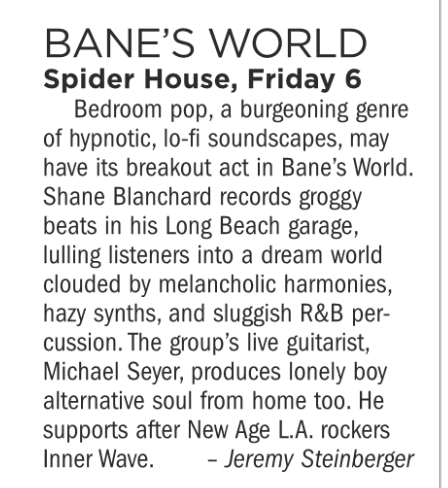 Bane's World, Michael Seyer, Innerwave, Spider House, Friday July 6