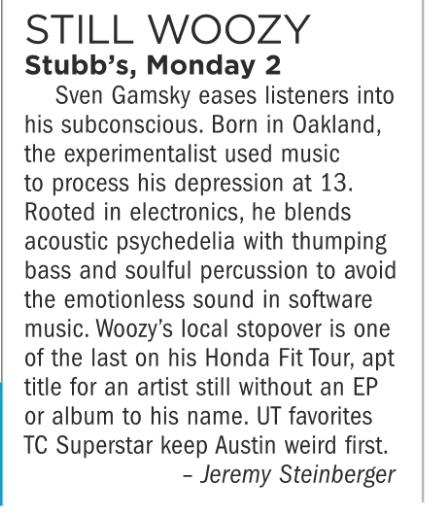 Still Woozy, Stubb's, Monday July 2