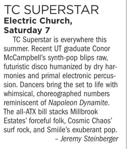 TC Superstar, Electric Church, Saturday July 7