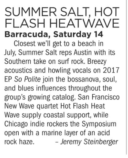 Summer Salt, Hot Flash Heat Wave, Barracuda, Saturday July 14